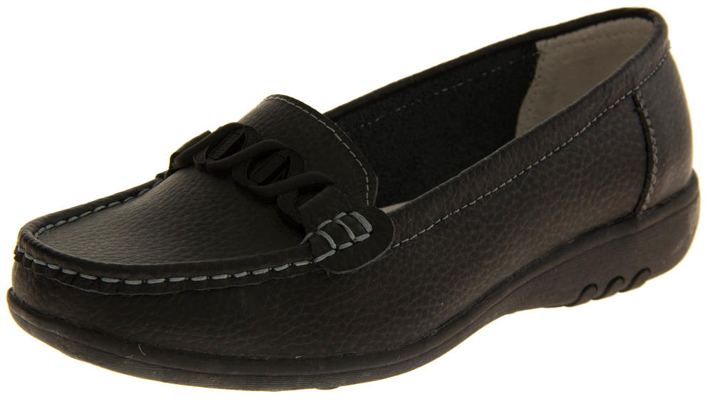Ladies LEATHER Slip On Loafers WIDE FITTING EEE