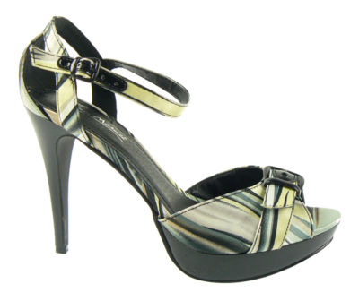 Ladies Black Multi-coloured Platform Stiletto Ankle Strap Party Heels Shoes