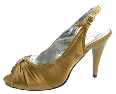 NEW Ladies Dark Gold Satin Diamante Heels Womens Slingback Wedding ...