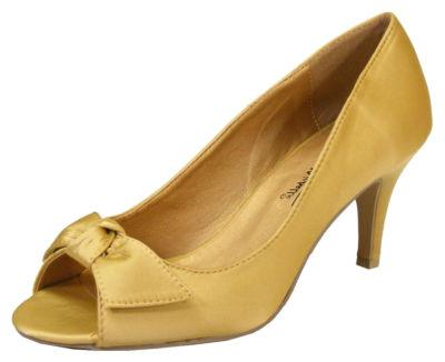 Ladies Gold Satin Bow ANNE MICHELLE Prom Low-Mid Heels ...