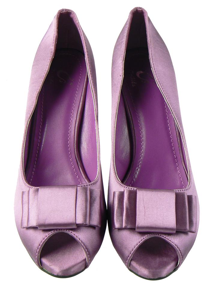 purple lilac satin bow prom heels wedding