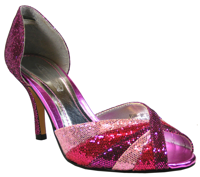 new stunning pink purple glittery prom heels