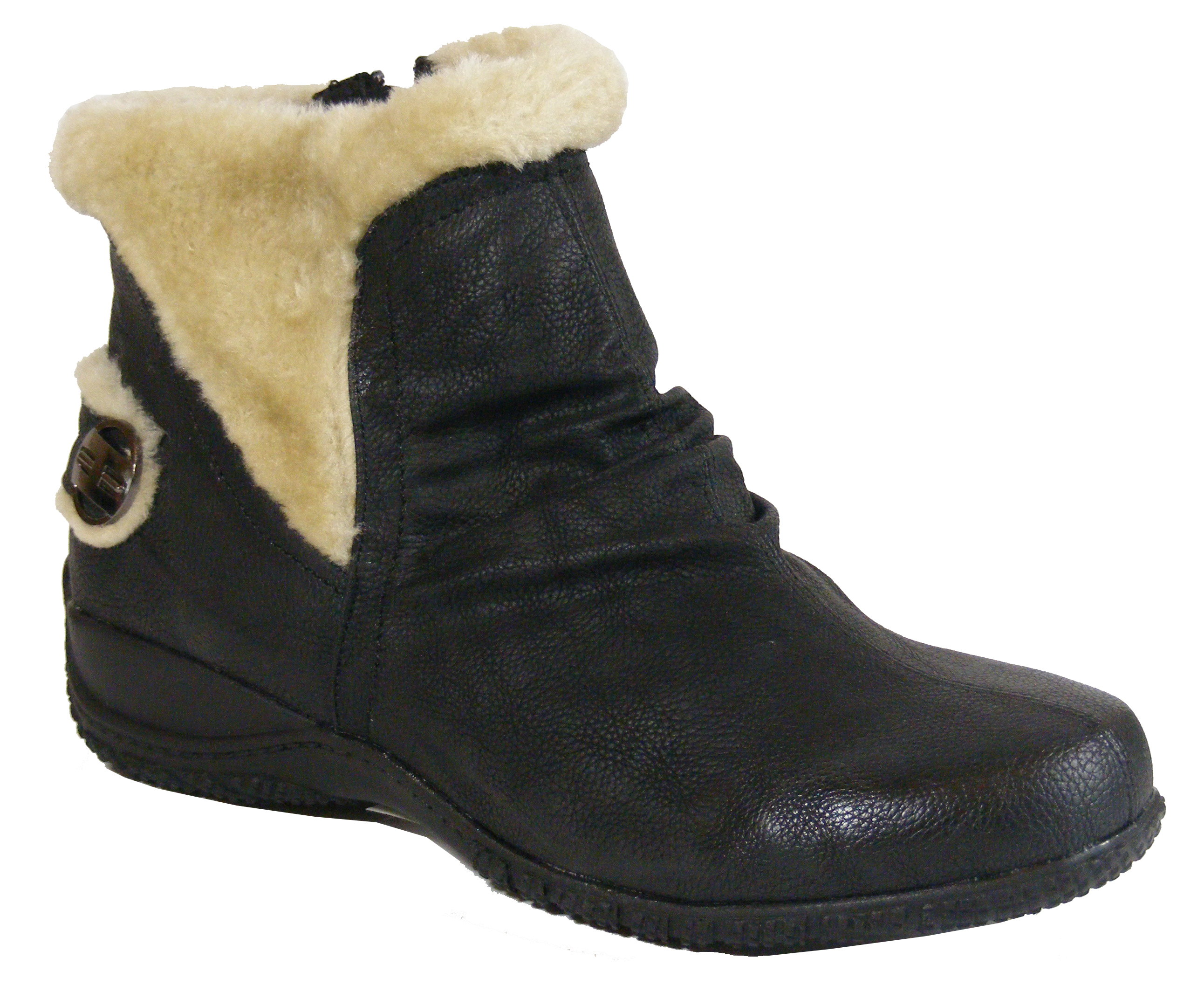 Ladies TRUEFORM Black U0026 Beige Warm Fur Lined Womens Flat Ankle Work Winter Boots | EBay