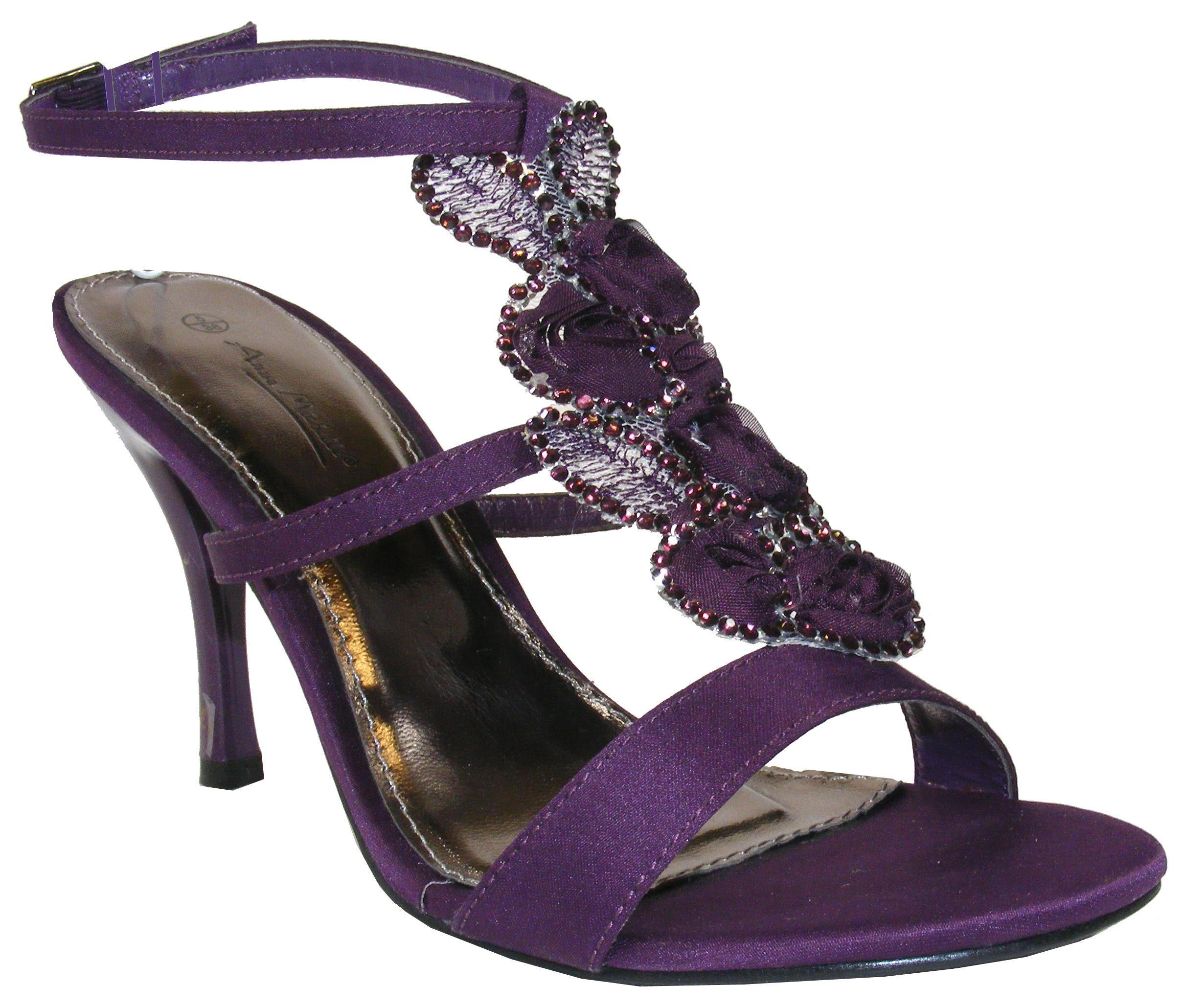 NEW Ladies Plum Purple Satin Flowery Diamante Bridesmaids Shoes Wedding Heels