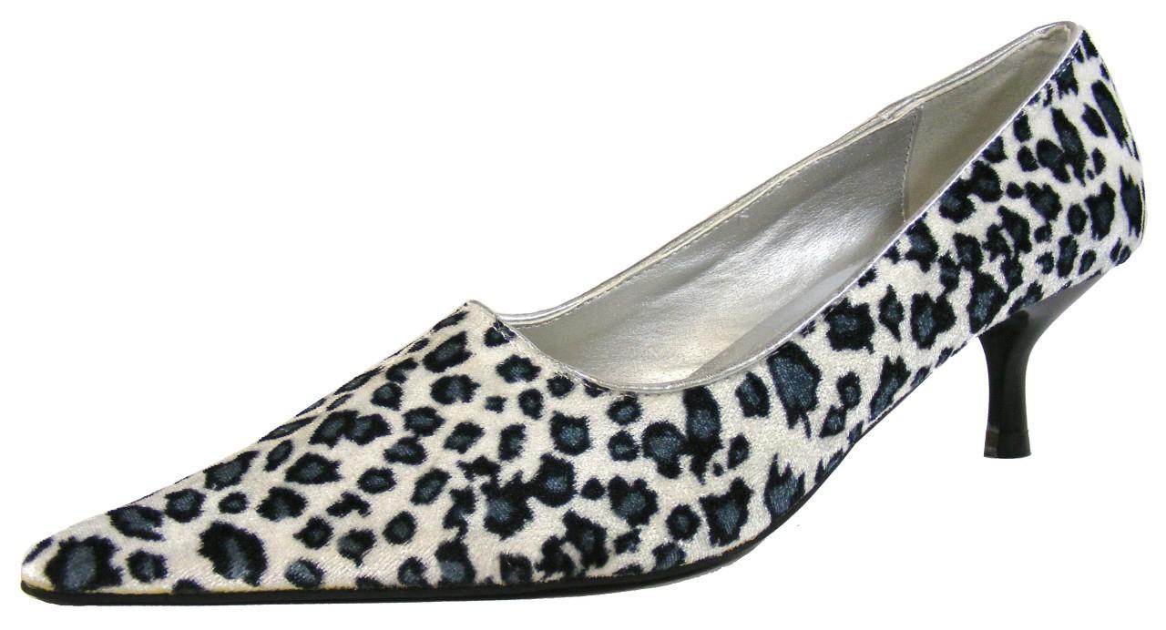 Image Is Loading Las Stunning White Leopard Skin Effect Low Heels