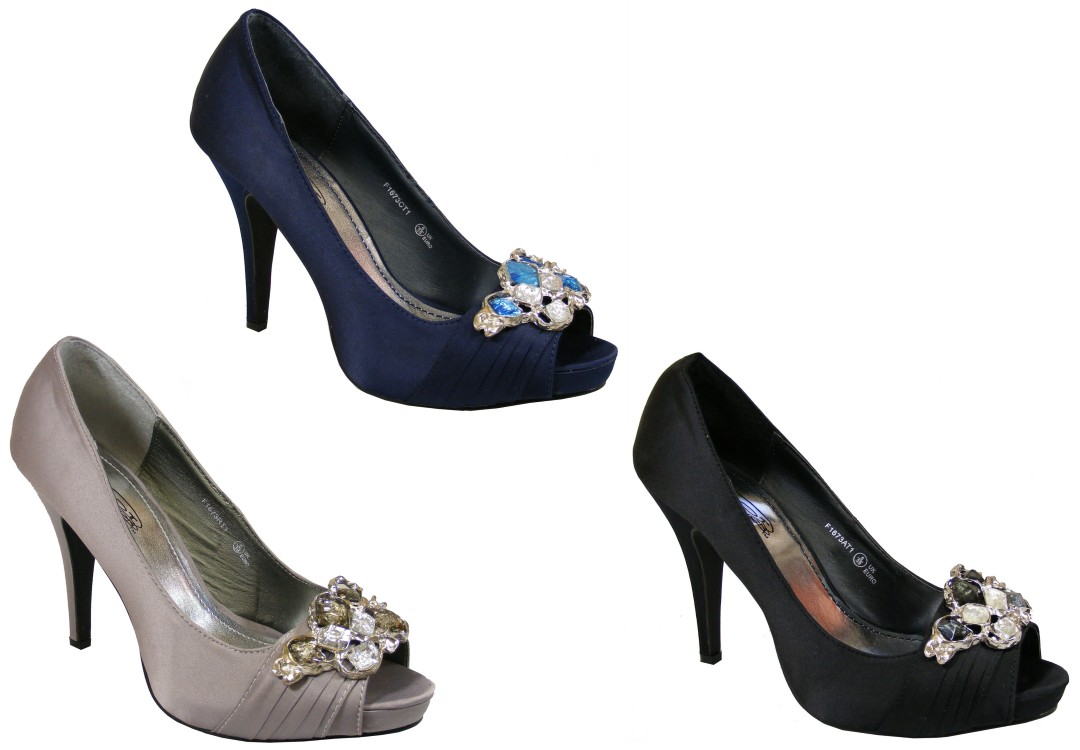 Navy Blue And Silver Heels
