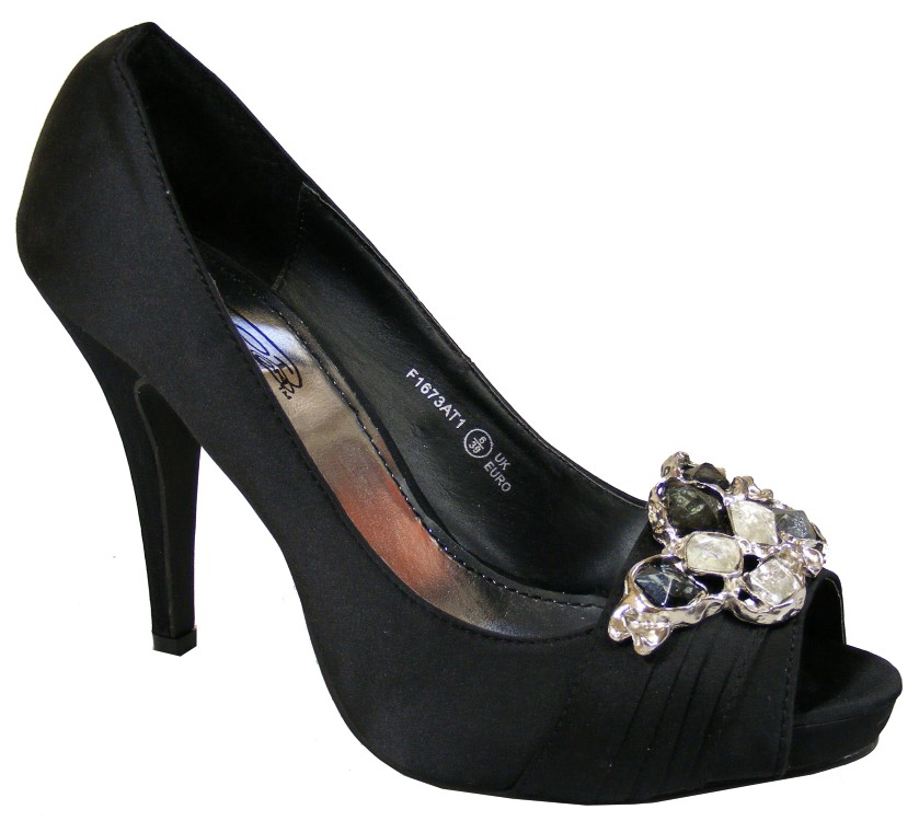 Ladies Navy Blue/Silver/Black Satin Gem Mid Heels Peeptoe Wedding ...