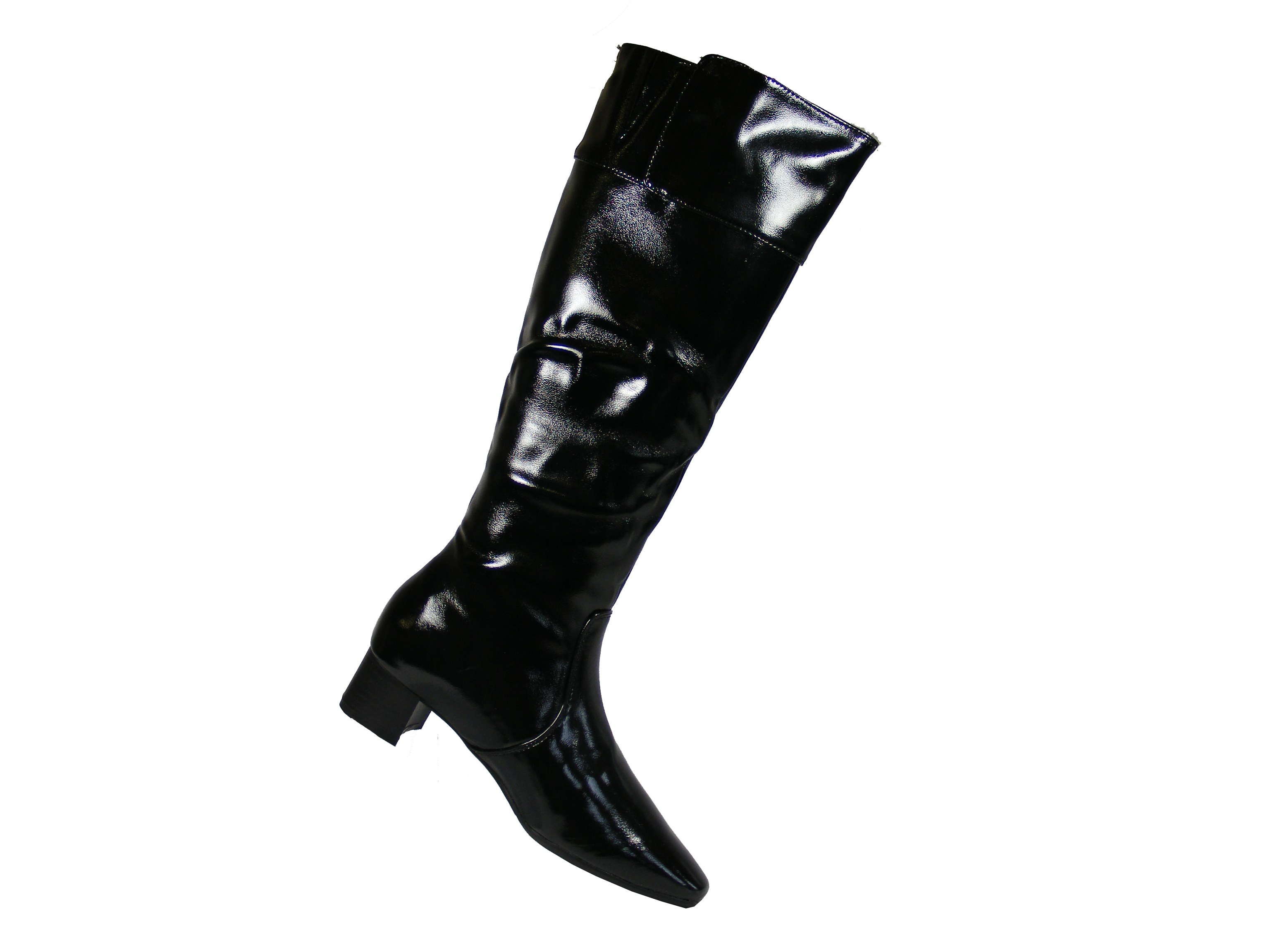 womens shiny patent black knee high pointed boots