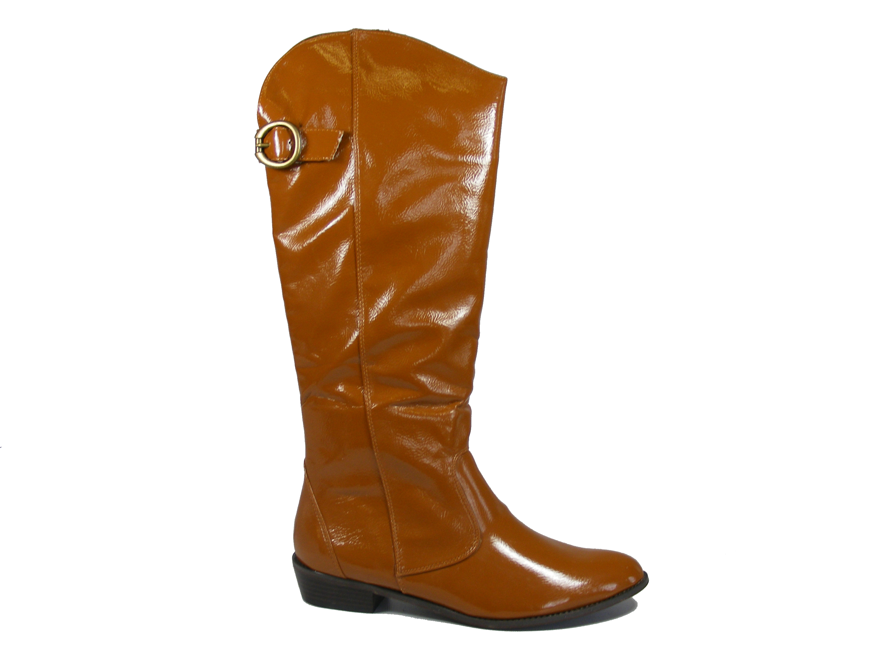 womens brown cowboy style low heeled knee high