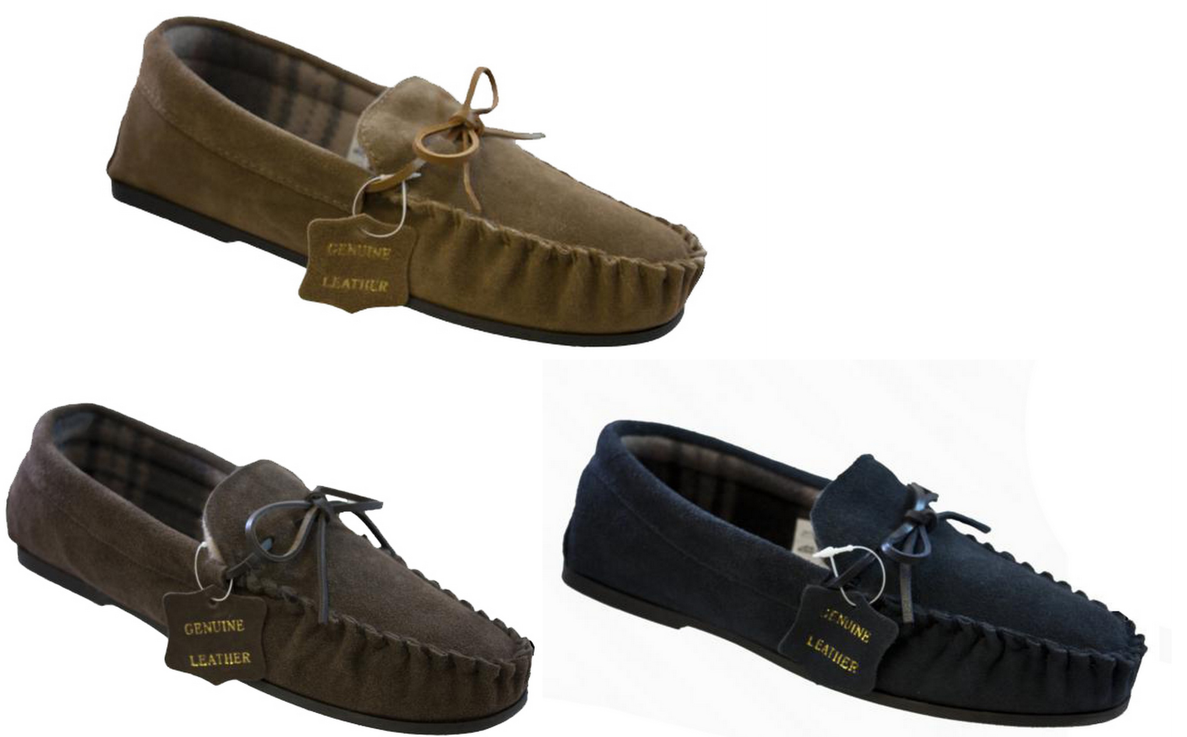 Mens Bedroom Shoes Mens Navy Tan Brown Real Suede Moccasin Slipper Shoes With Brushed