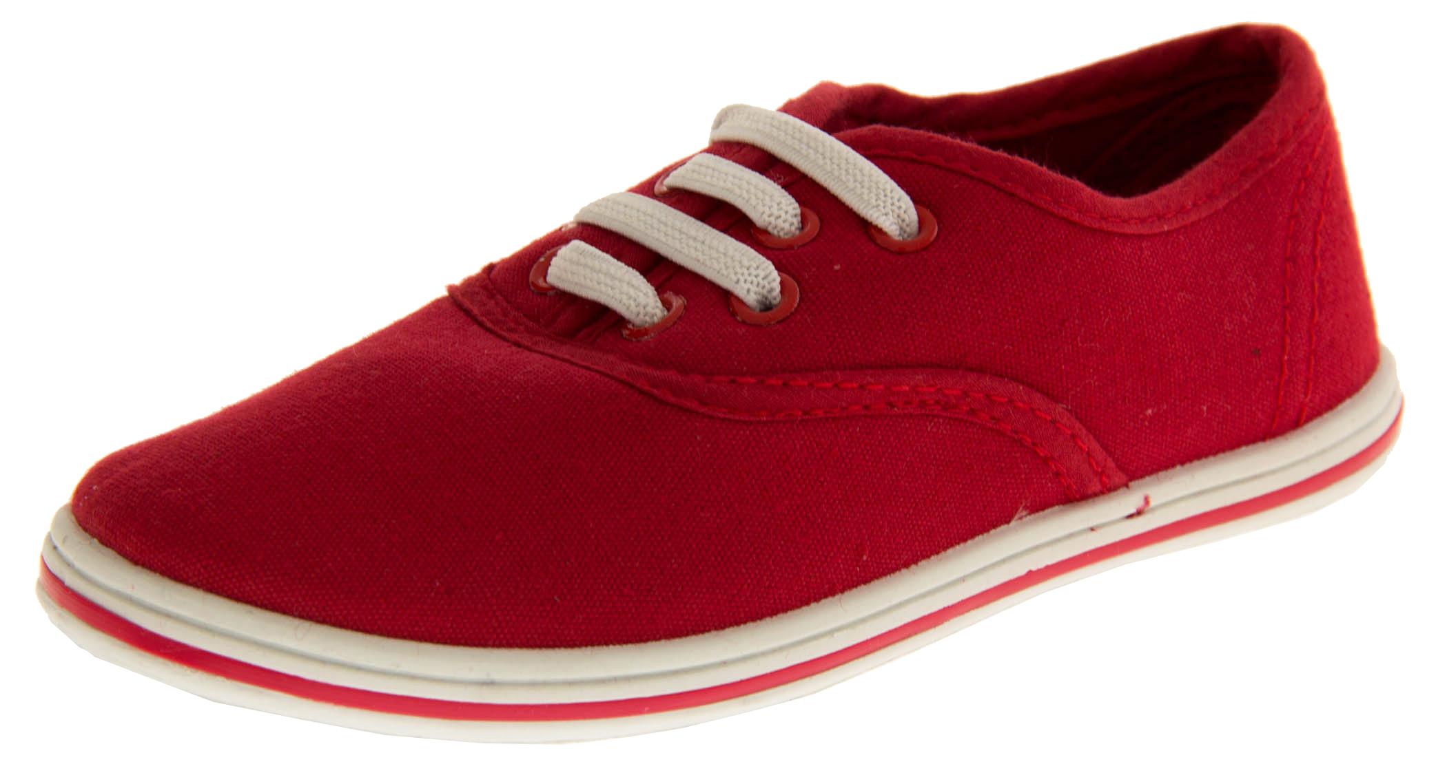 New Girls Kids Red Canvas Shoes Flats Shoe Plimsolls Flat Pumps Sz