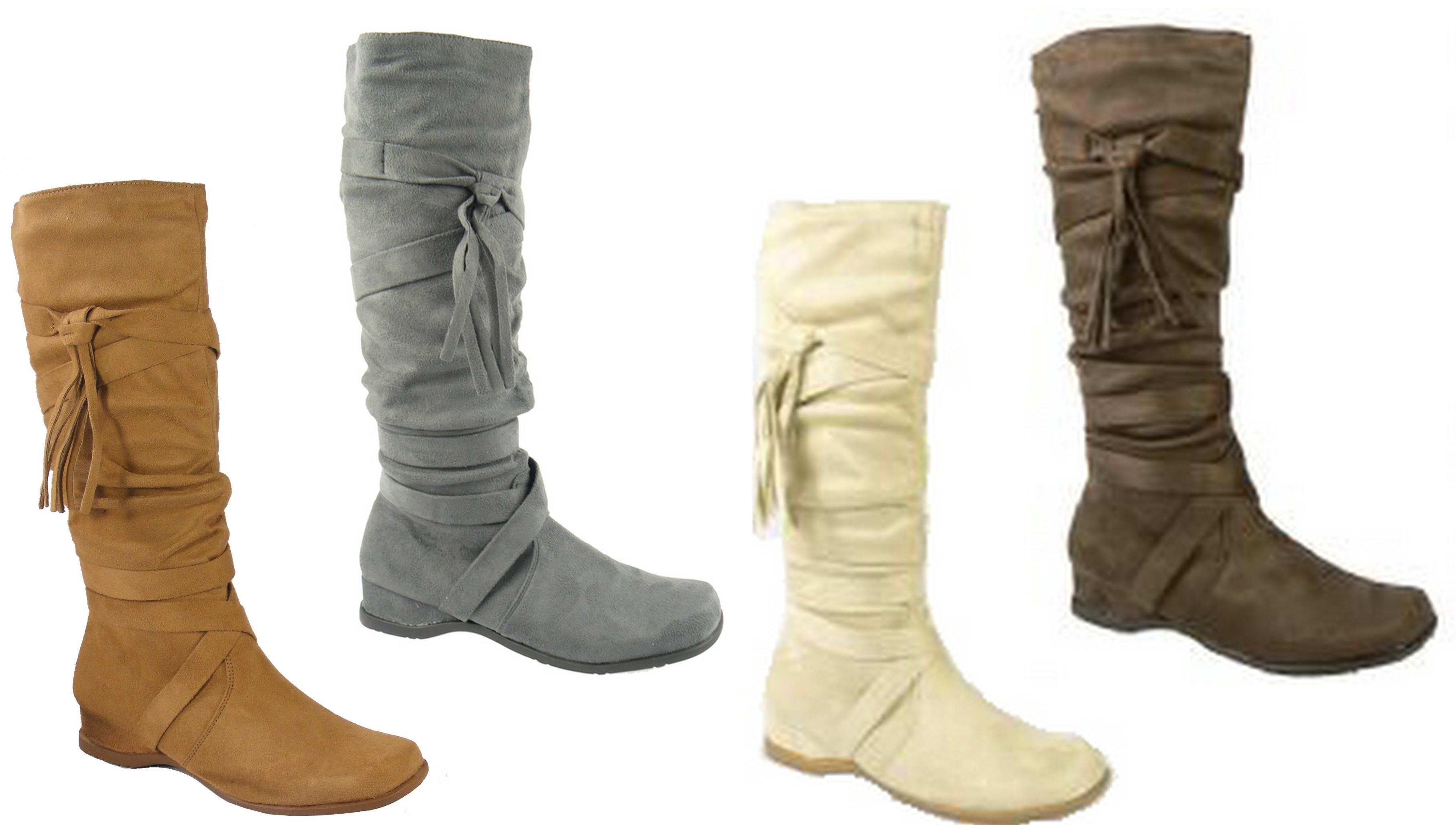 womens brown beige faux suede knee high work