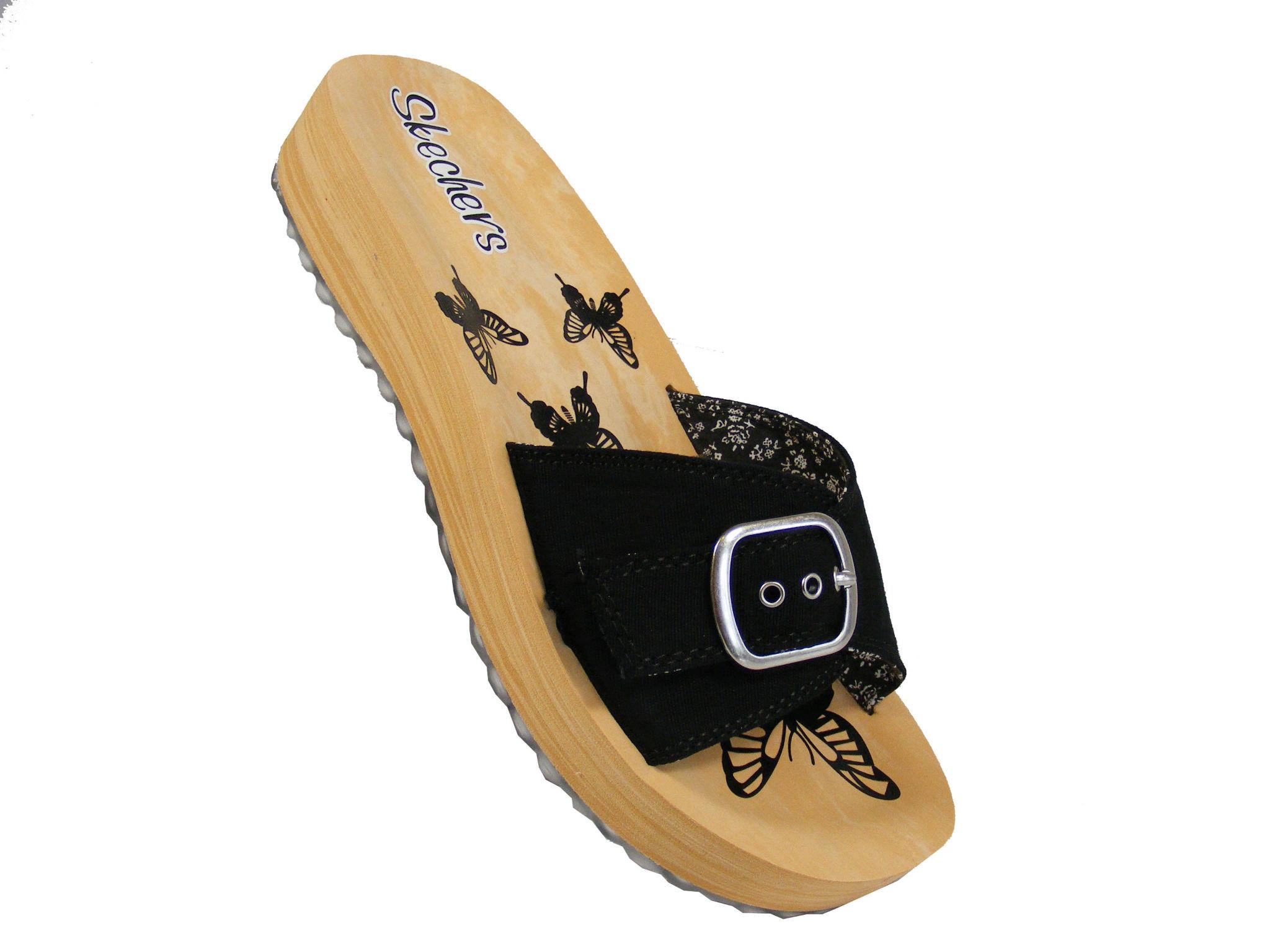 new black canvas skechers slip on foam sandal wedges