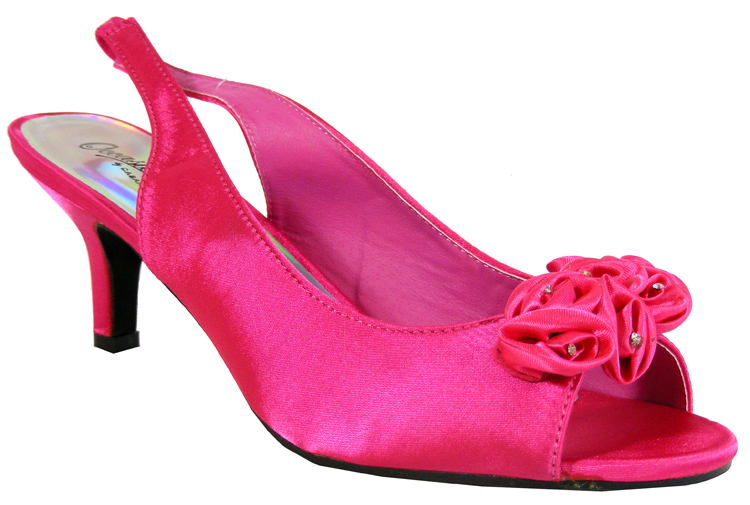 Pink Wedding Shoes Low Heel: New Womens Pink Satin Low Heels Slingback Wedding Bridal