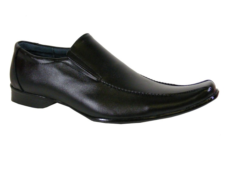 new mens black leather casual loafer shoe wedding
