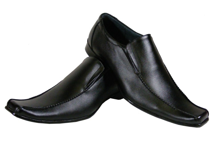 New Mens Black LEATHER Men Work Loafers Dress Shoe Wedding Formal ...