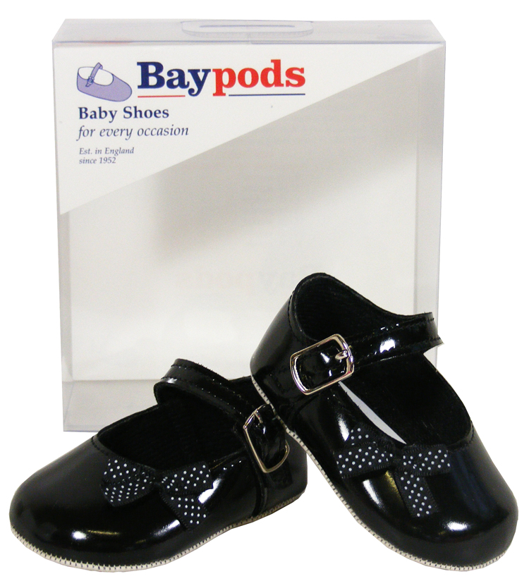 NEW BABY GIRLS TODDLER INFANT BAY PODS BLACK SHINY FORMAL BOW ...