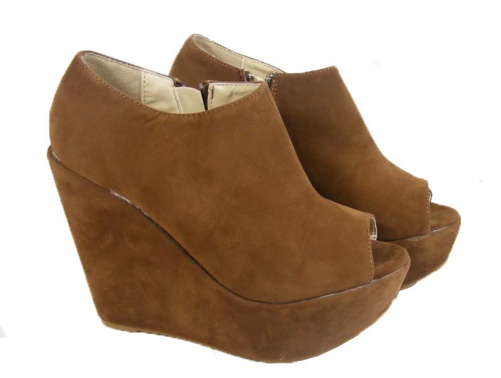 New-Ladies-Womens-Tan-Brown-Peeptoe-Platform-Wedge-Heel-High-Heels-Size-3-4-5-8