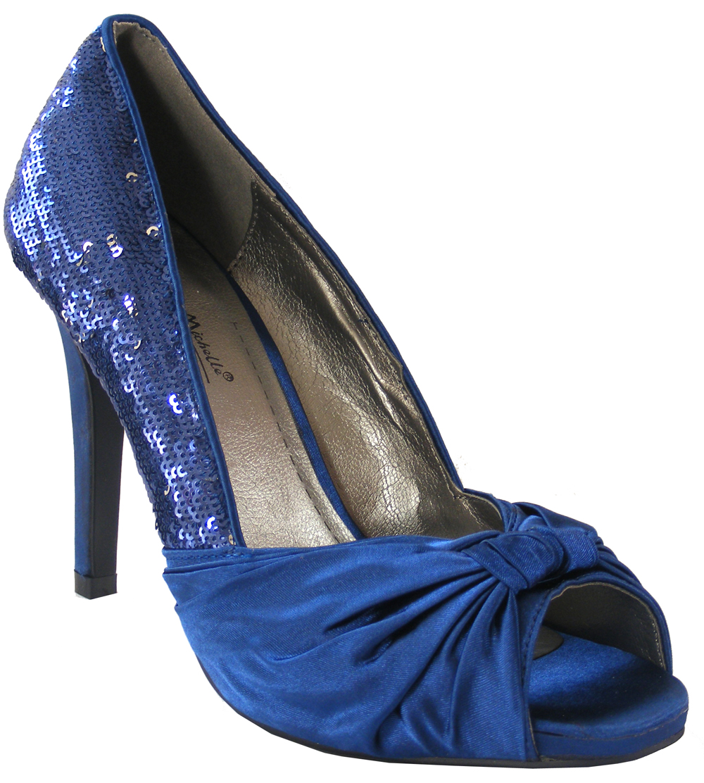 NEW Womens Royal Blue Satin Sequins Court Shoes Wedding Bridesmaids Heels Siz