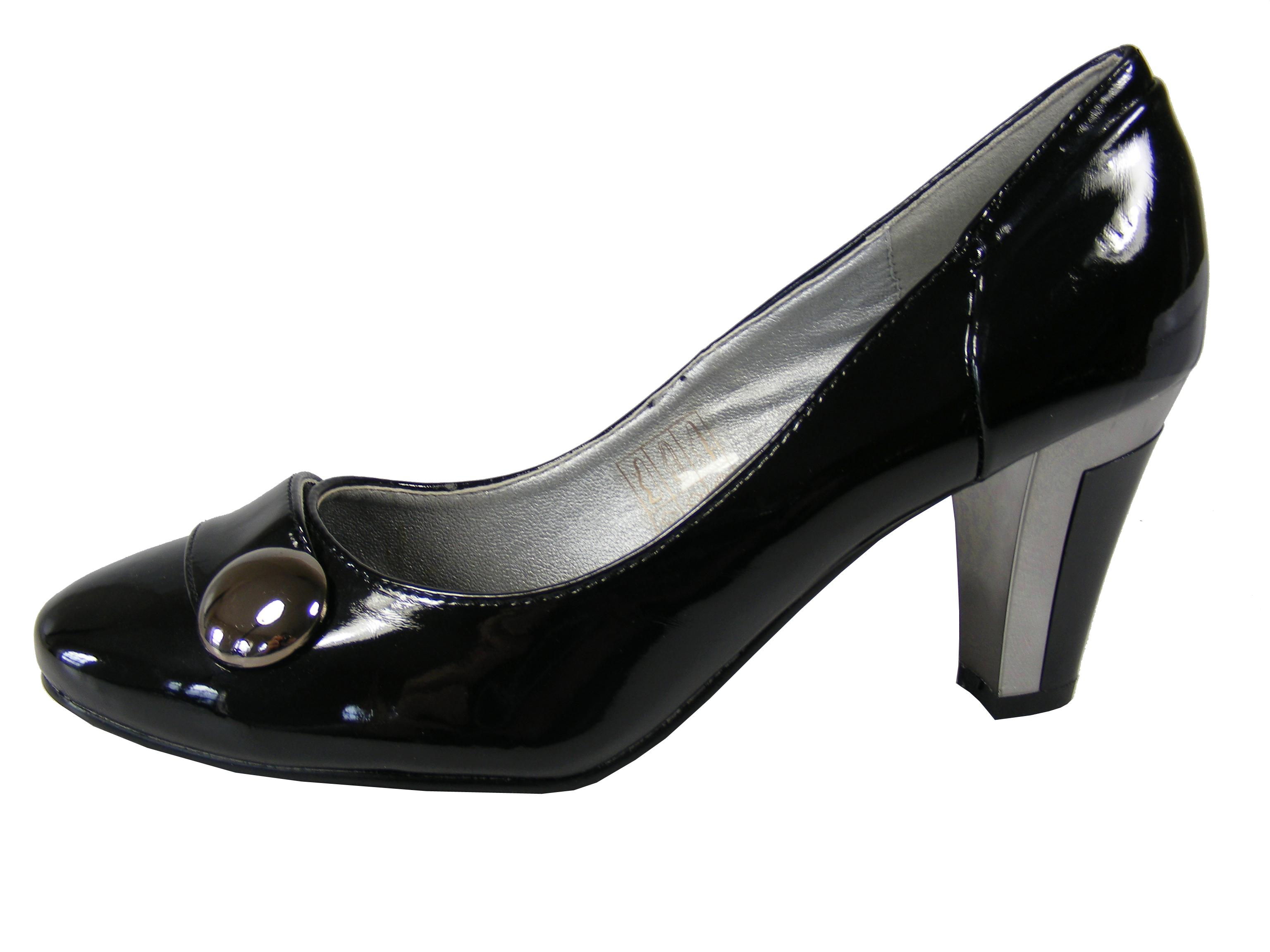 NEW Womens Ladies Black Shiny Button Work Mid Heel Formal Court ...
