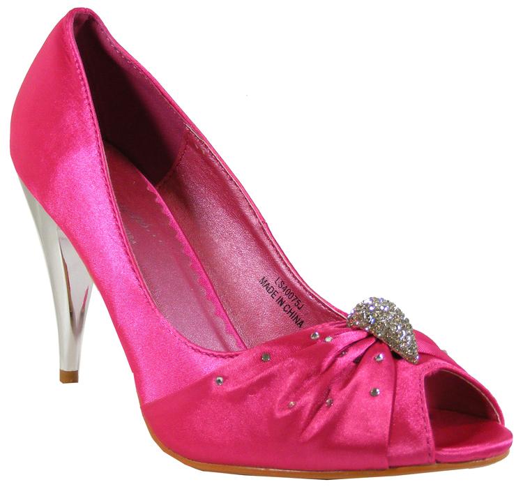 Fuschia Low Heel Wedding Shoes: New Ladies Fushia Pink Satin Silver Heel Diamante Party