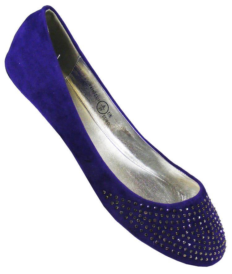 Blue Sequin Ballerina Shoes