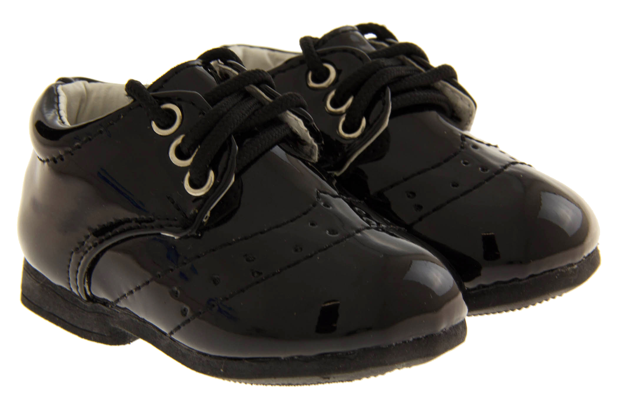 New Baby Boy Toddler Black Lace Up Shoes Smart Christening Party Sz 0 1 2 3 4 5
