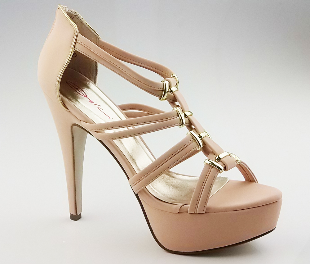 New Ladies DOLCIS Nude Beige Gold Platform Stiletto High Heels Zip