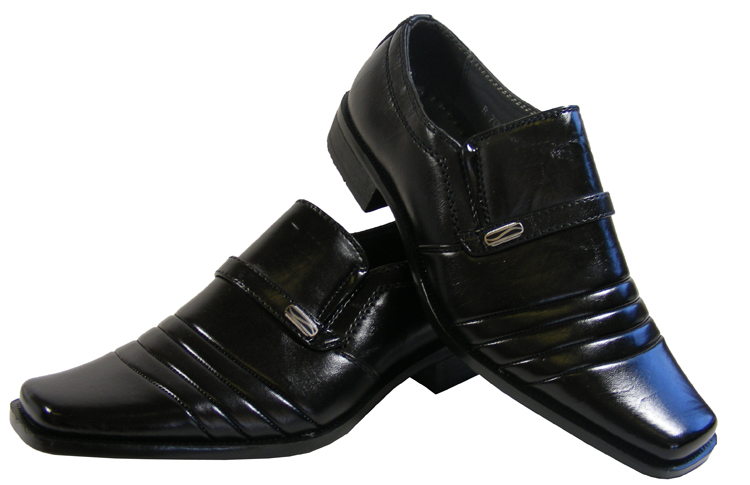 new boys black loafer formal wedding suit shoes work