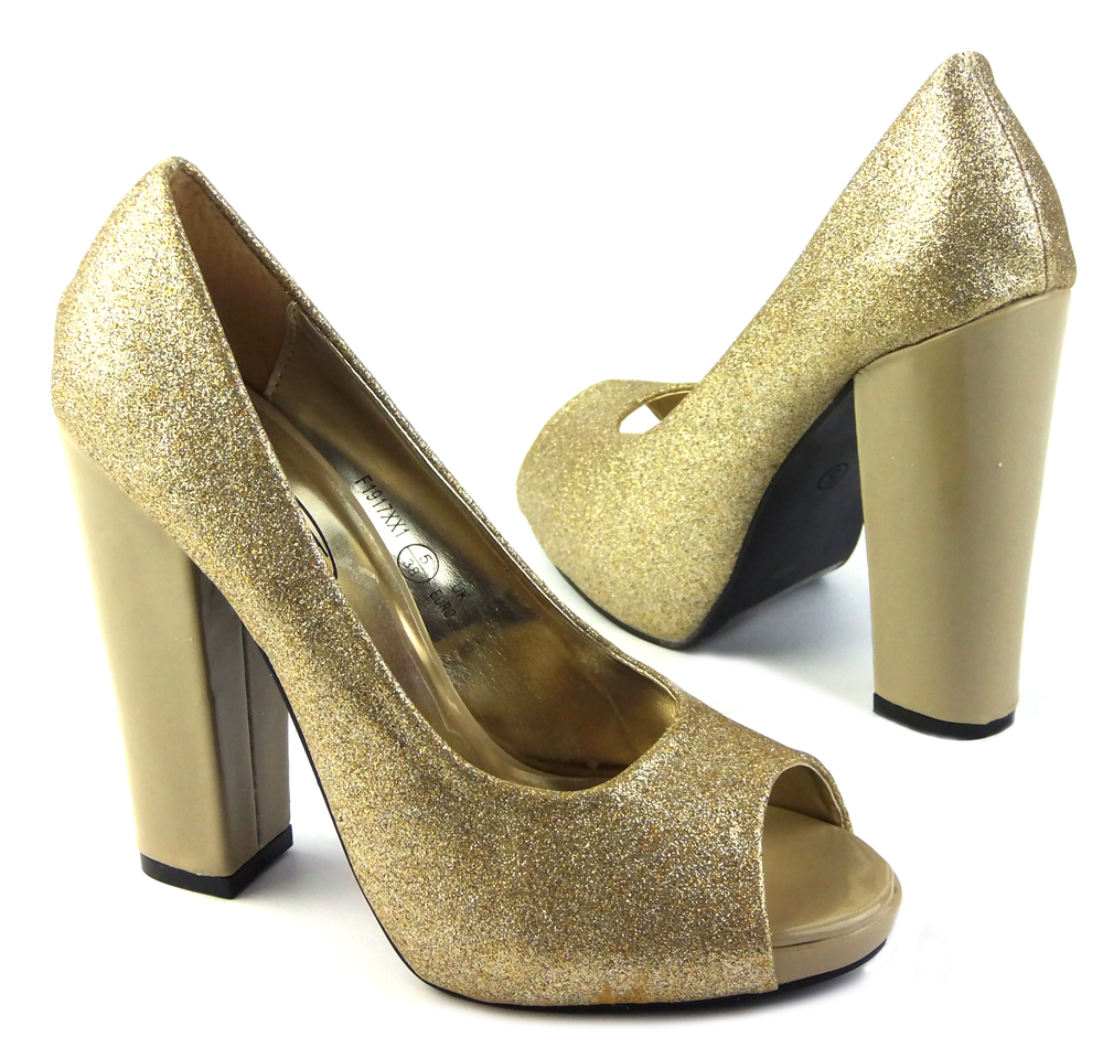 Ladies Shoes Wedding Glitter Block High Heel Party Formal Size 5 10 New