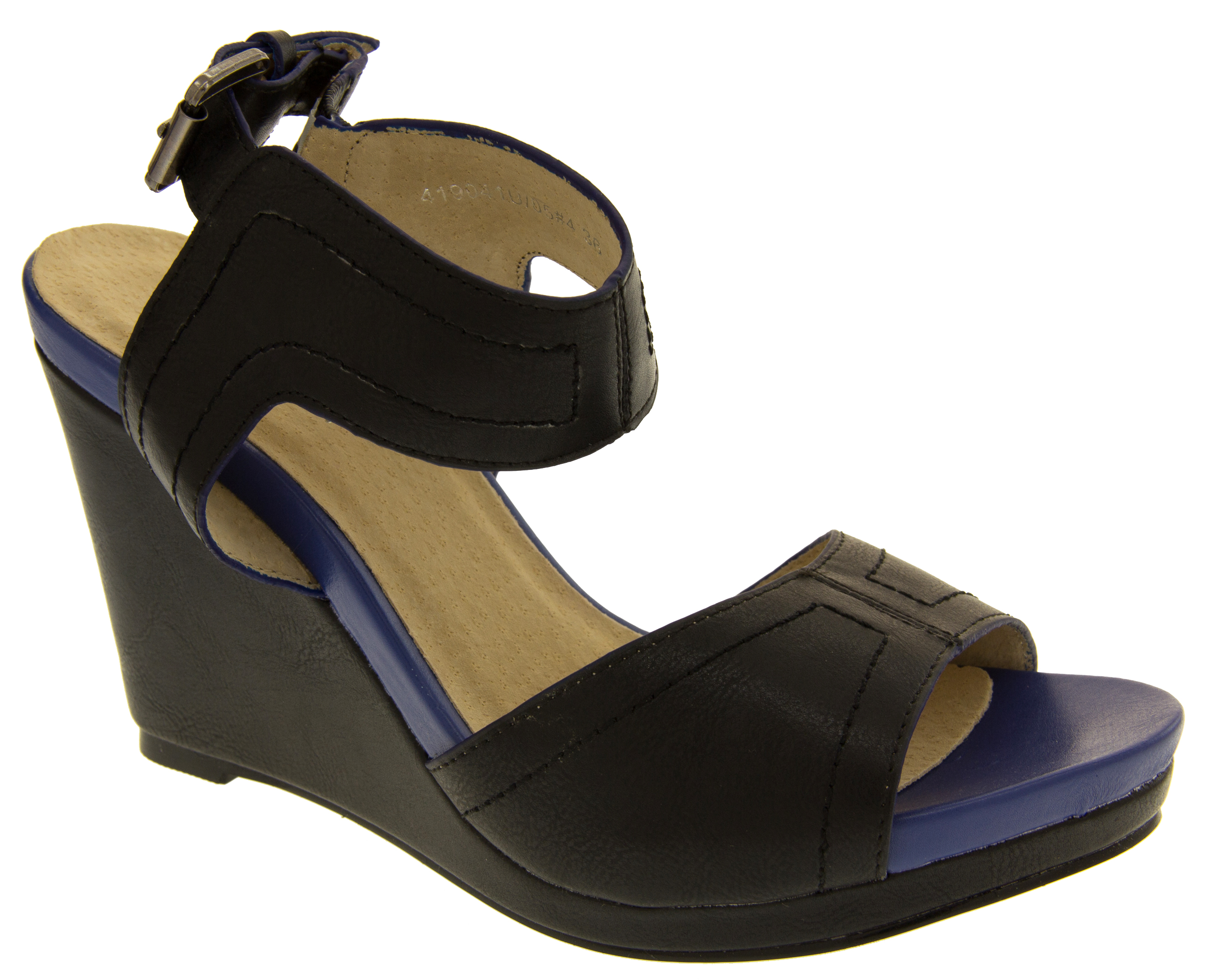 Womens Faux Leather High Heel Wedge Sandals Ladies Strappy