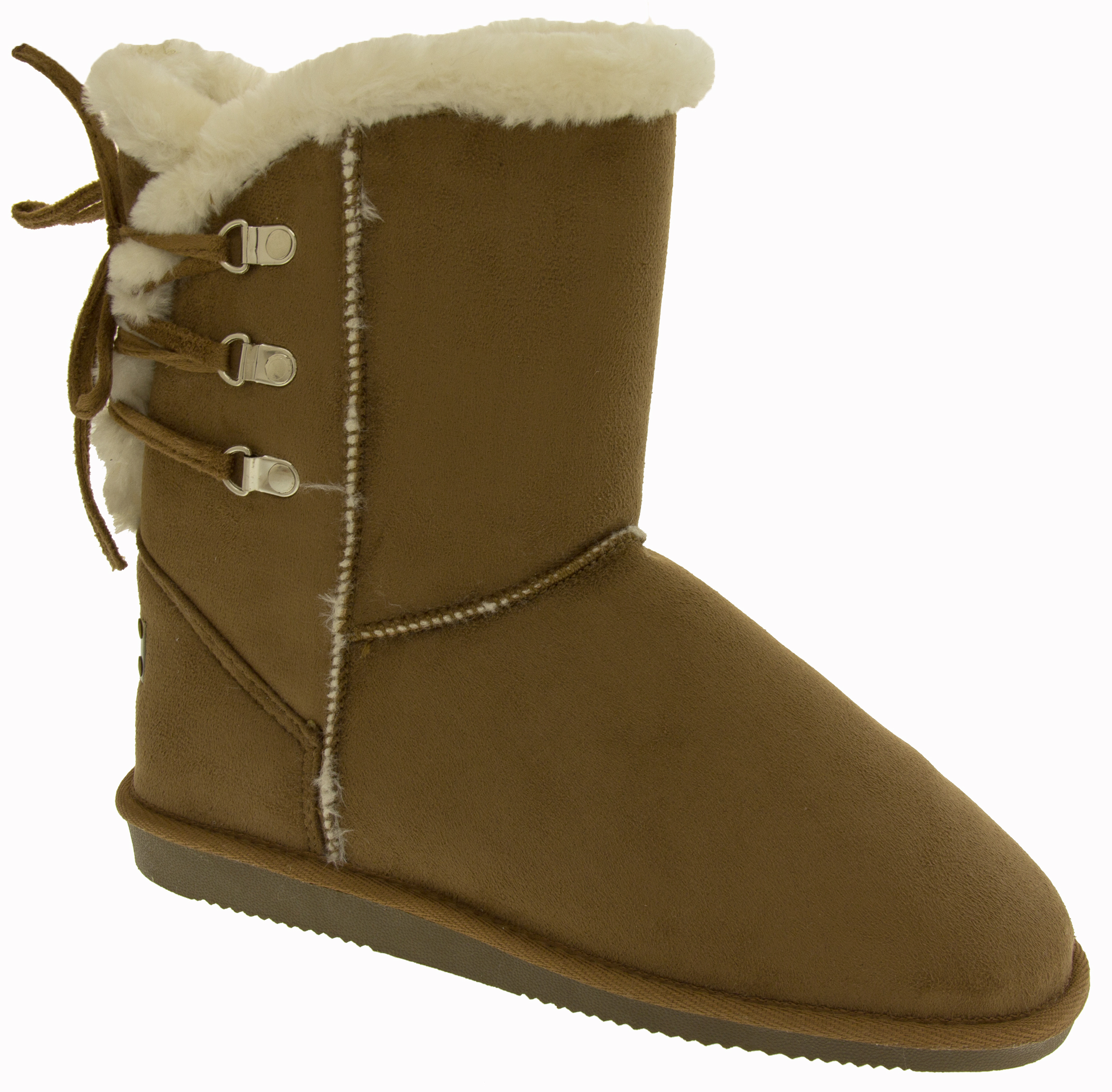 Womens Red Rock Boots Winter Warm Fur Lined Faux Suede