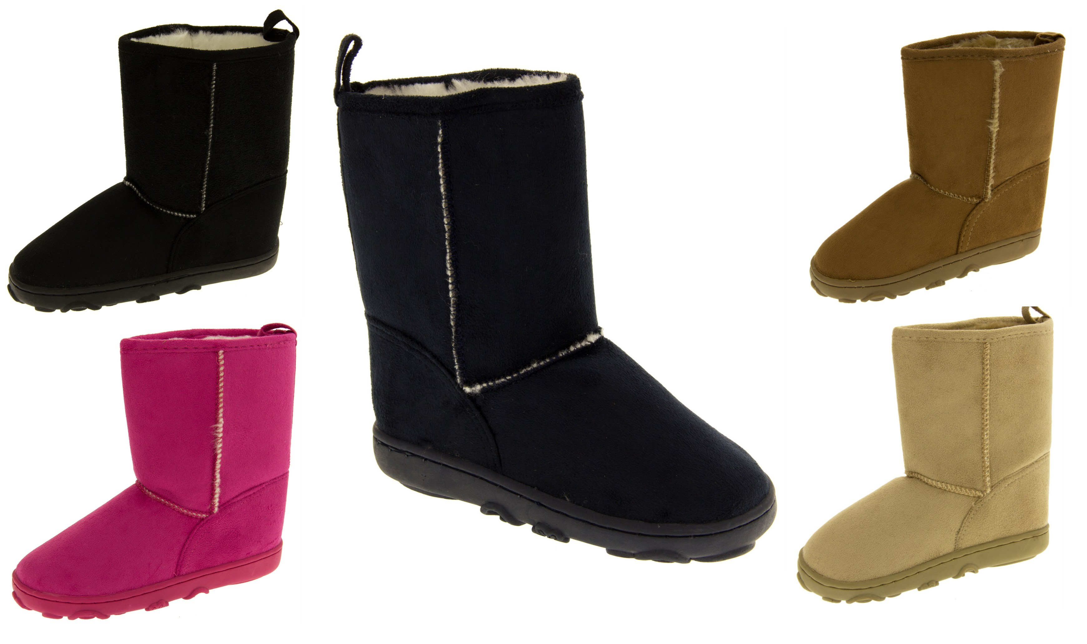 Girls Faux Suede Winter Hugg Boots Warm Faux Fur Lining