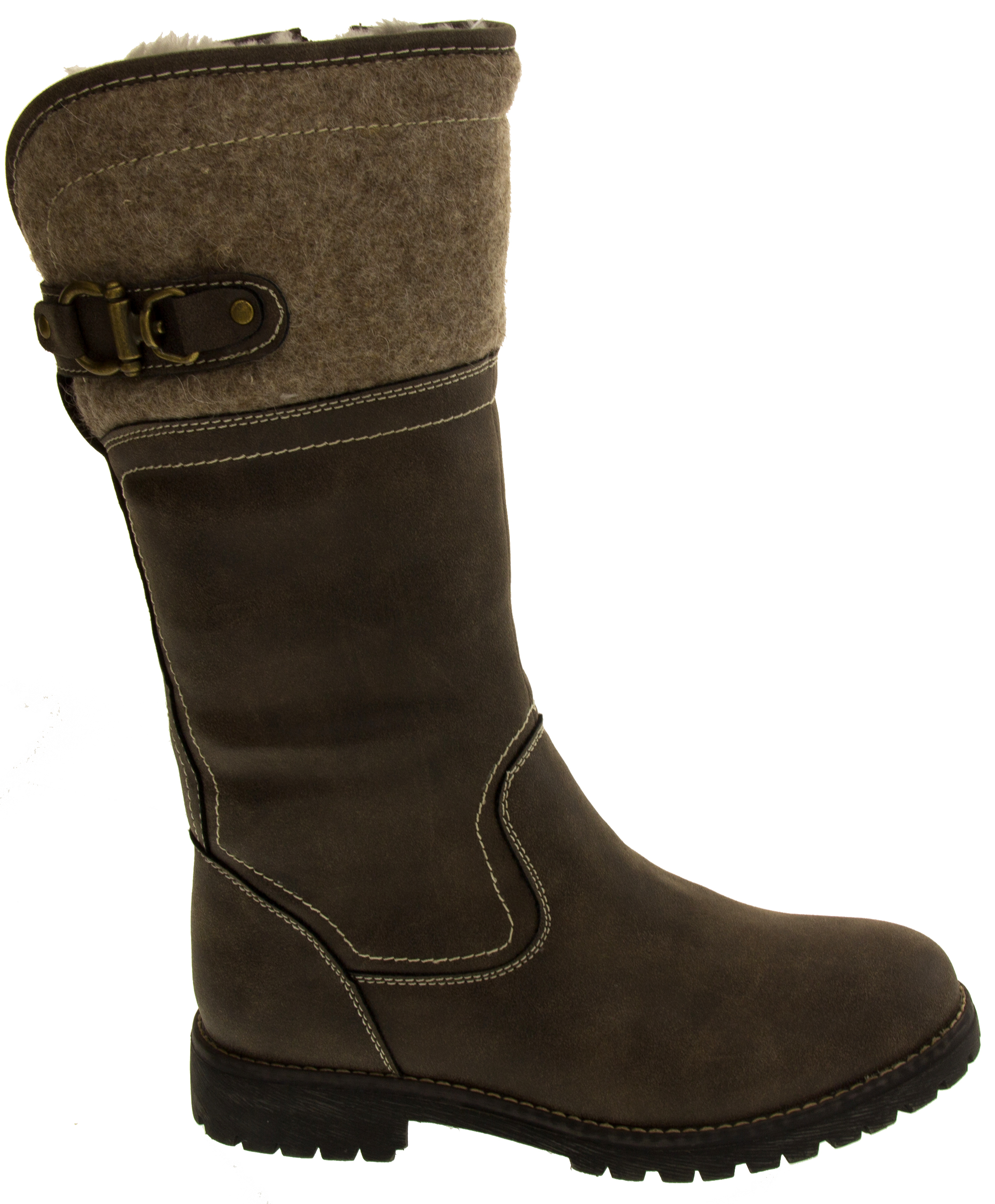 womens keddo mid calf faux leather boots warm