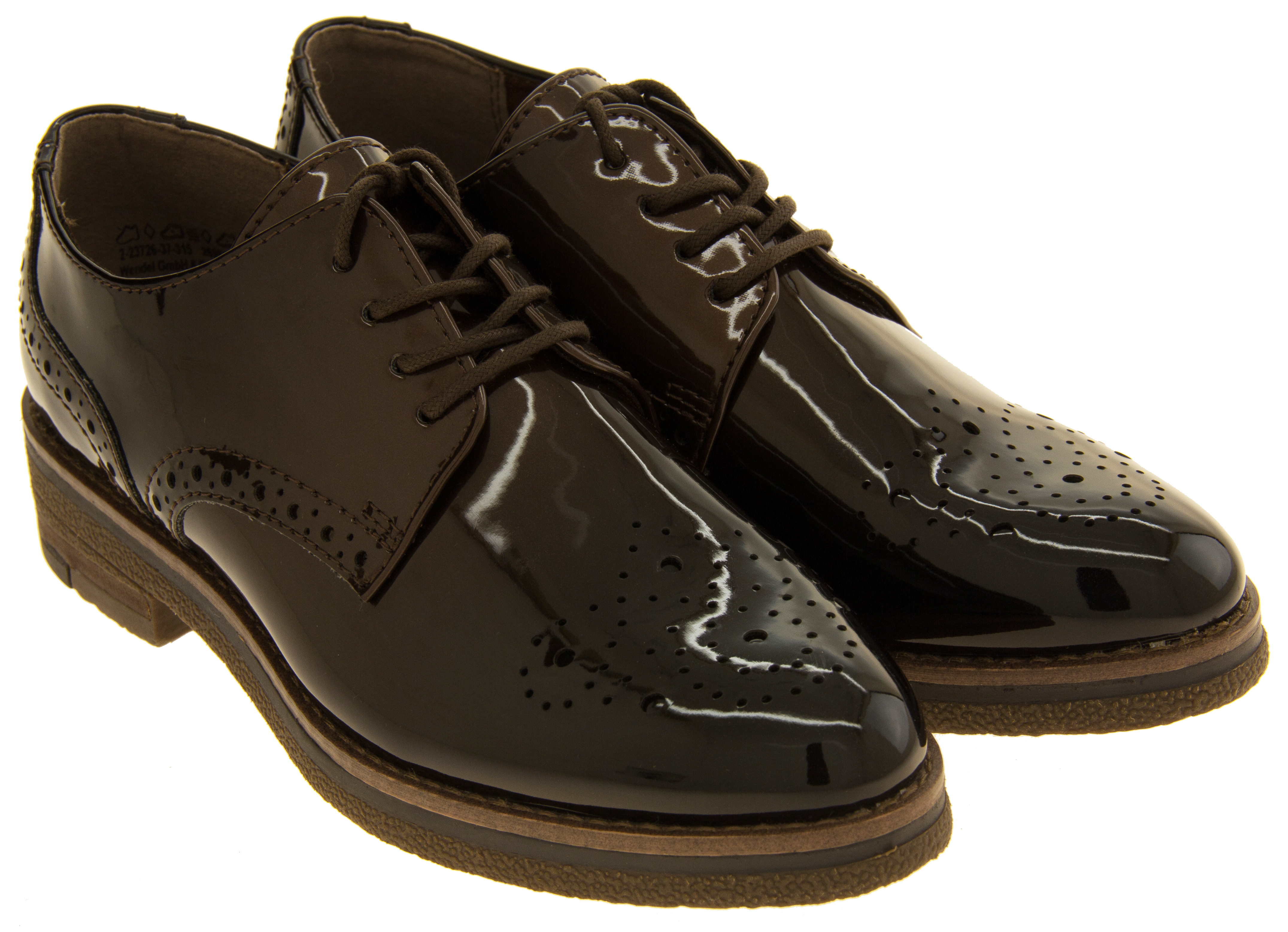 ladies marco tozzi shiny brogues womens lace up work shoes. Black Bedroom Furniture Sets. Home Design Ideas