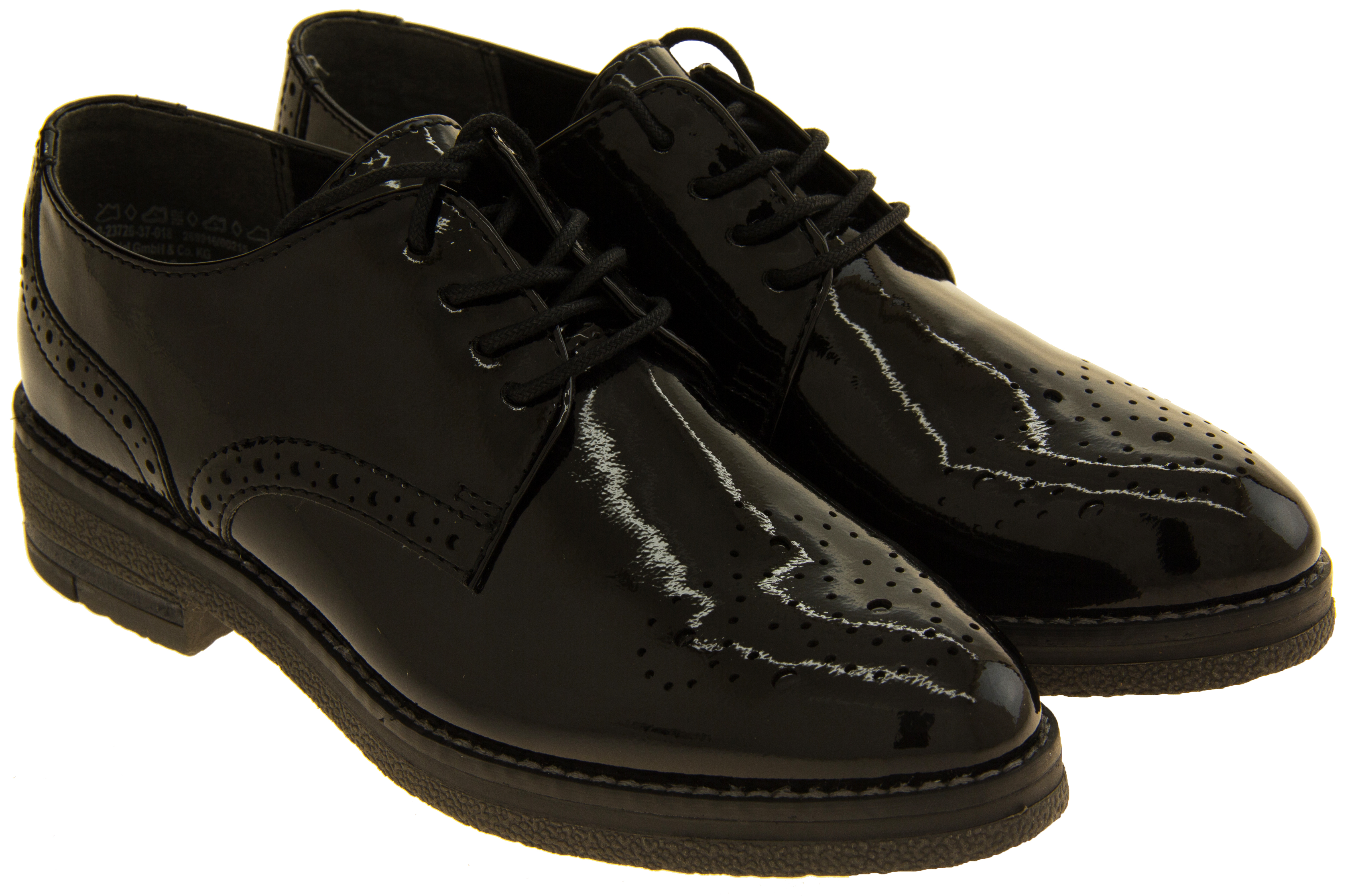 ladies marco tozzi shiny brogues womens lace up work shoes sz size 4 5 6 7 8 9 ebay. Black Bedroom Furniture Sets. Home Design Ideas
