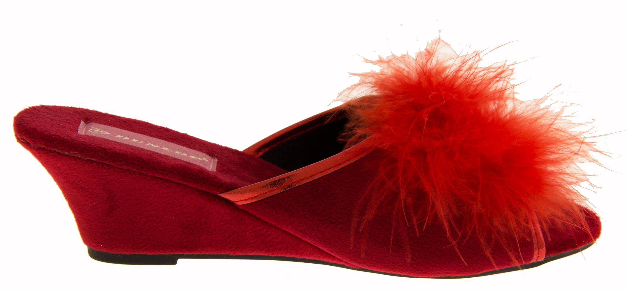 Womens dunlop slipper wedges heels slip on mules new - Ladies bedroom slippers with heel ...