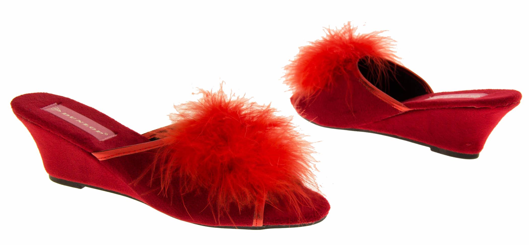 Womens Bedroom Slippers Womens Dunlop Slipper Wedges Heels Slip On Mules New