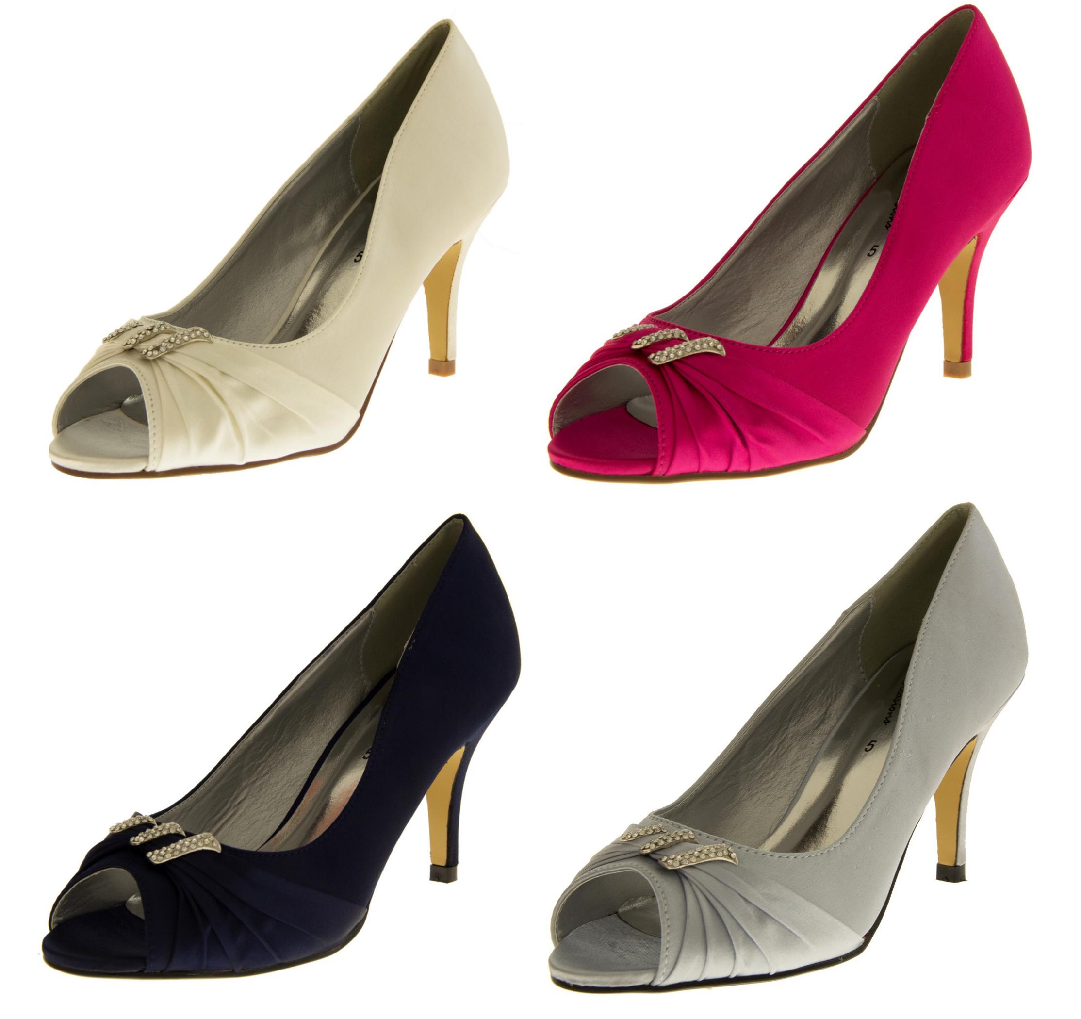 ladies satin high heels diamante bridal pumps kitten. Black Bedroom Furniture Sets. Home Design Ideas