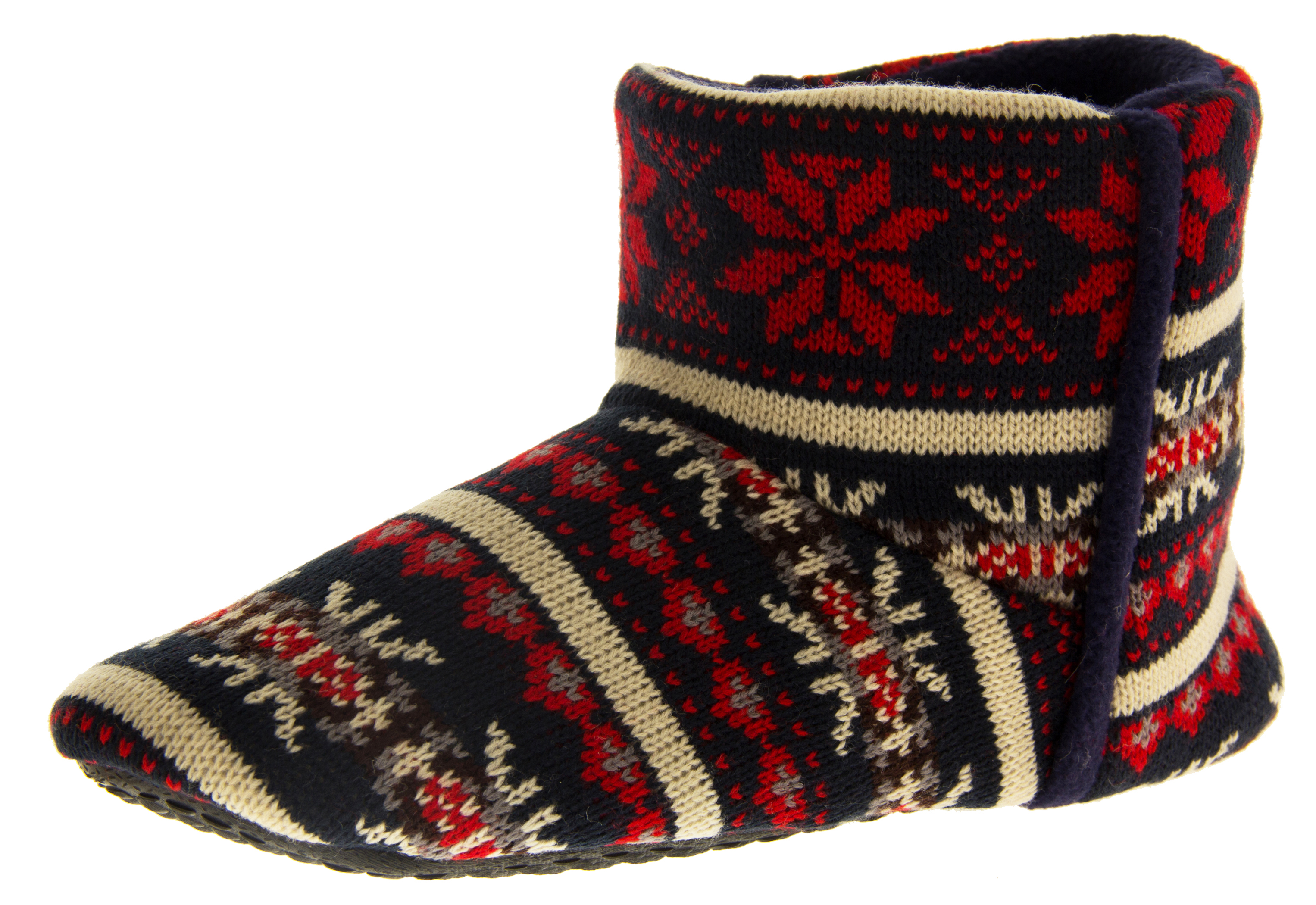 Mens Dunlop Boot Slippers Fairisle Eskimo Flat Warm Winter Boots ...