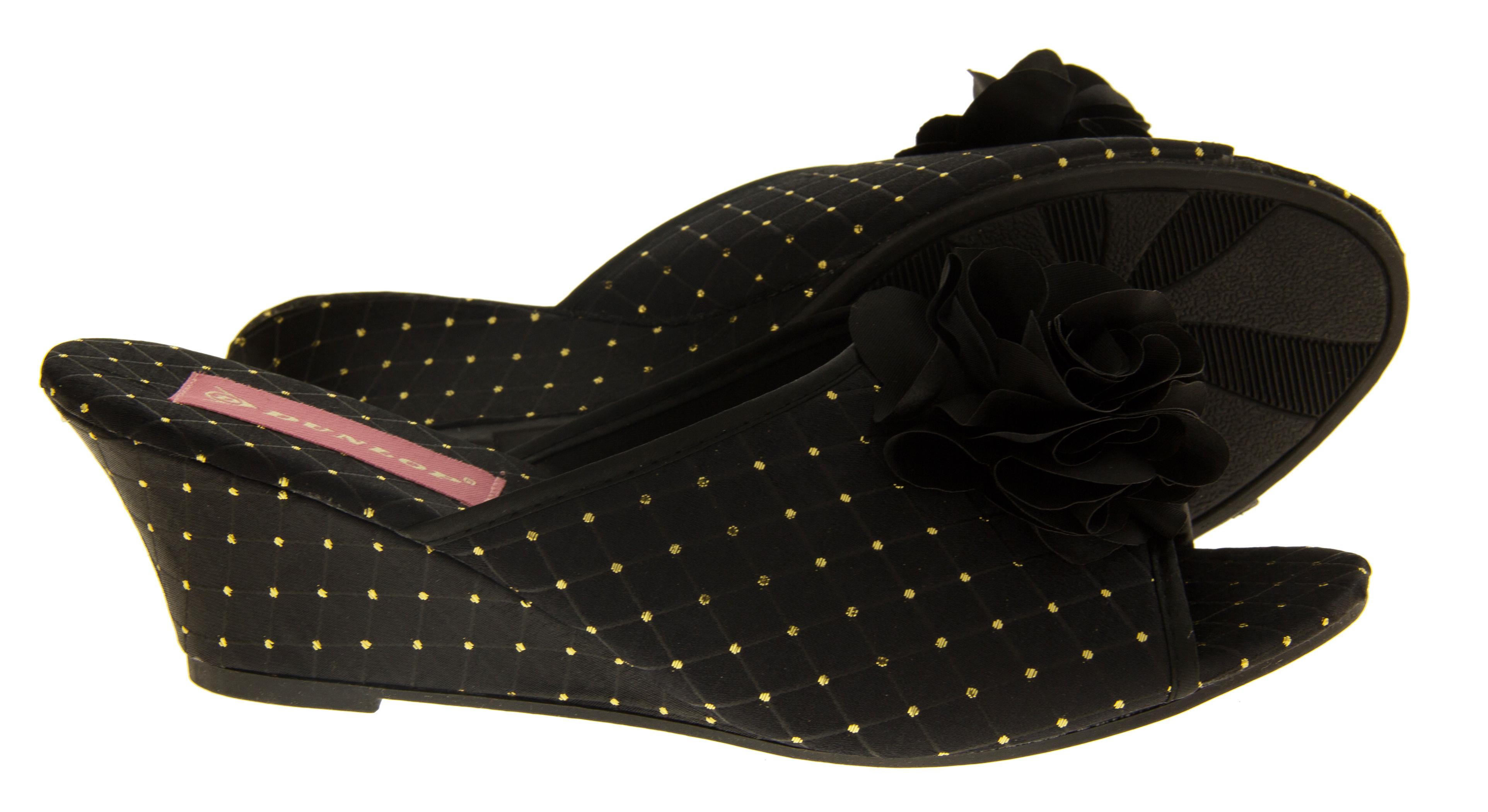 Ladies Dunlop Slipper Wedges Satin Heels Slip On Bedroom