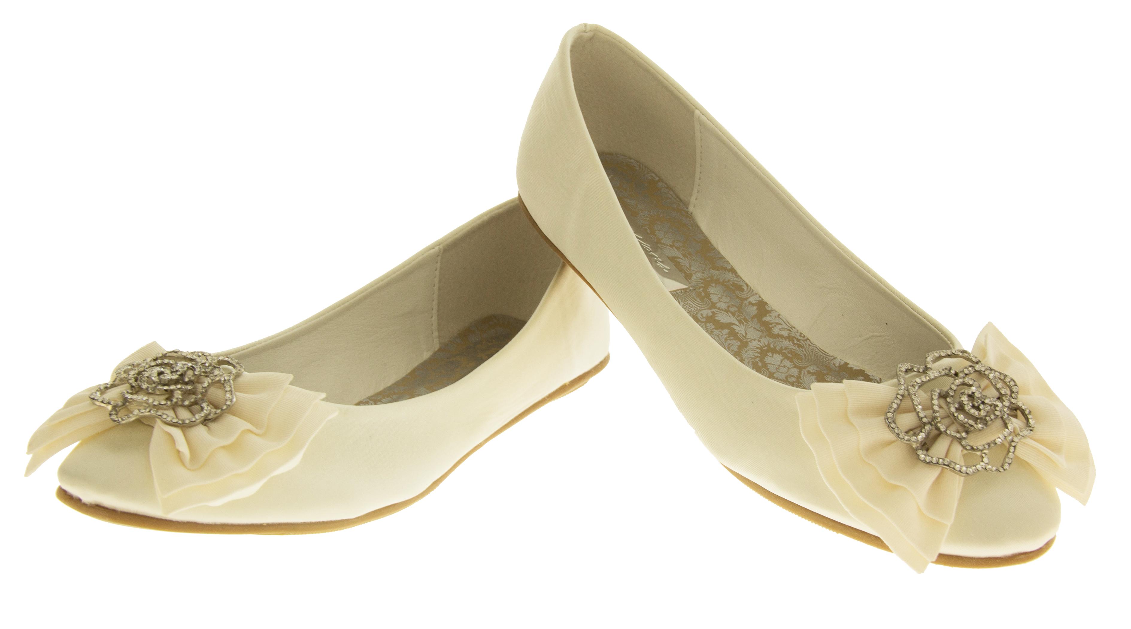 Ladies Ivory Dolly Shoes Flat Ballerina Bridal Pumps Bridesmaids Ballet Flats
