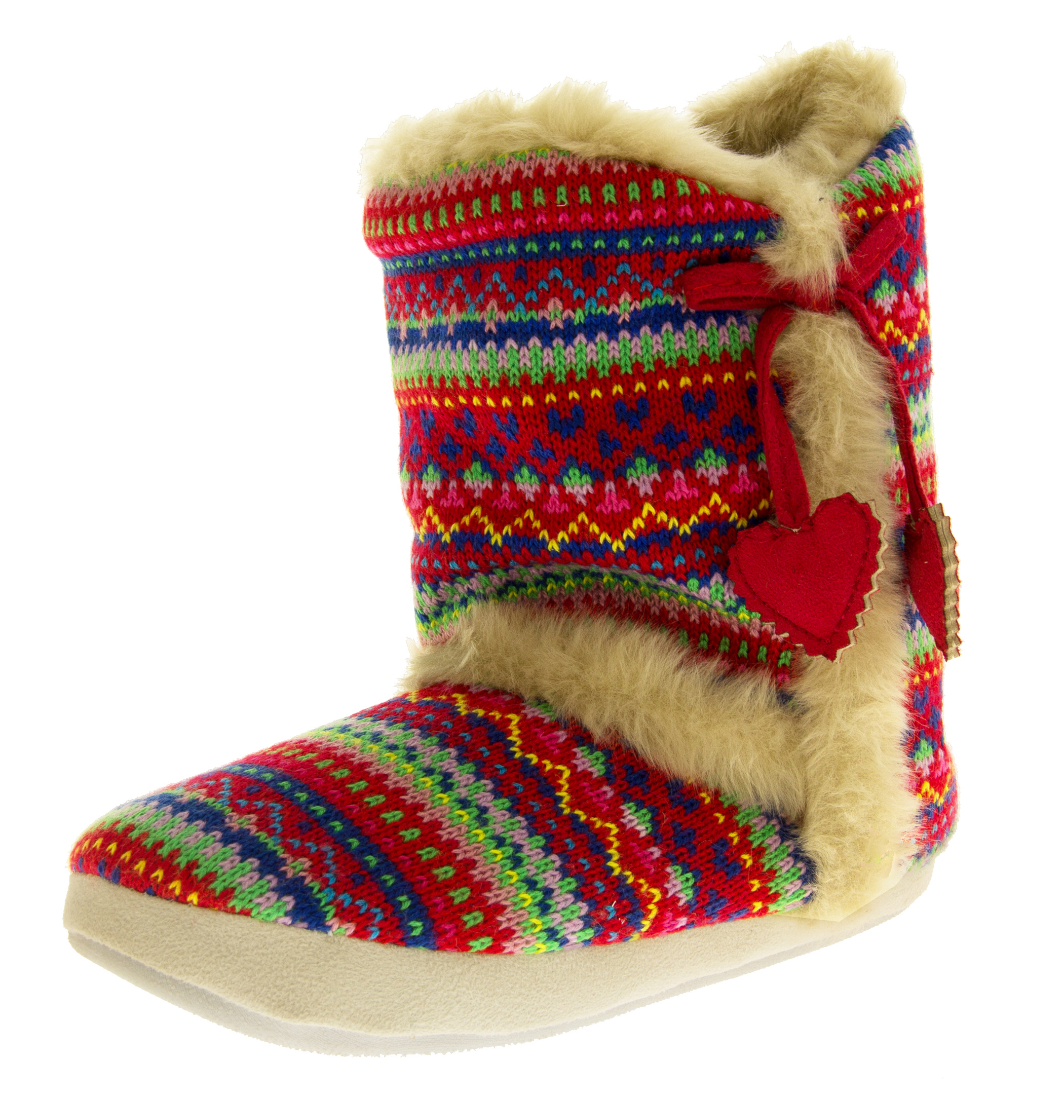 Ladies DUNLOP Boot Slippers Knitted Alpine Pattern Faux Fur Lined Slipper Boo...