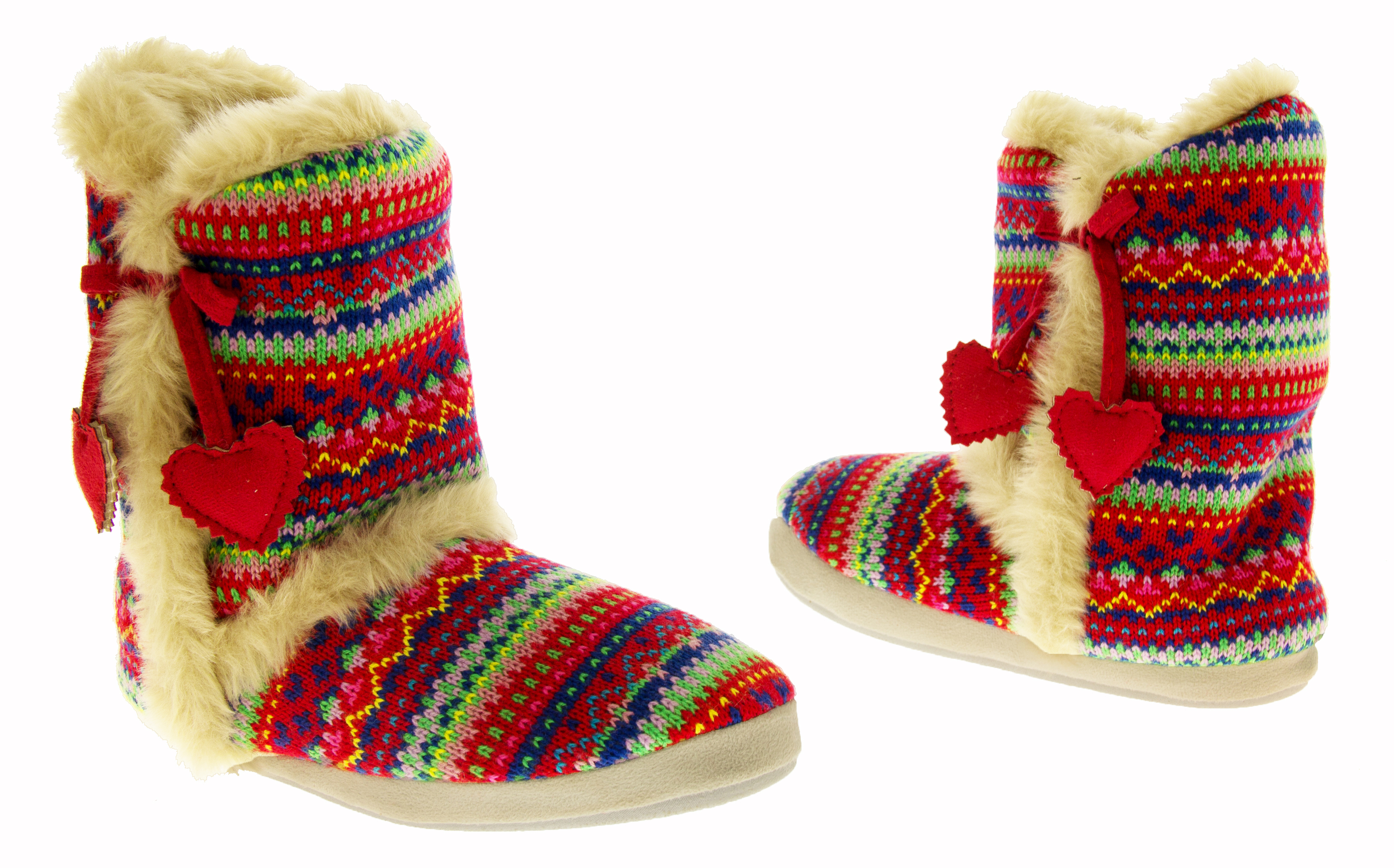 Knitting Pattern Ladies Slipper Boots : Ladies DUNLOP Boot Slippers Knitted Alpine Pattern Faux Fur Lined Slipper Boo...