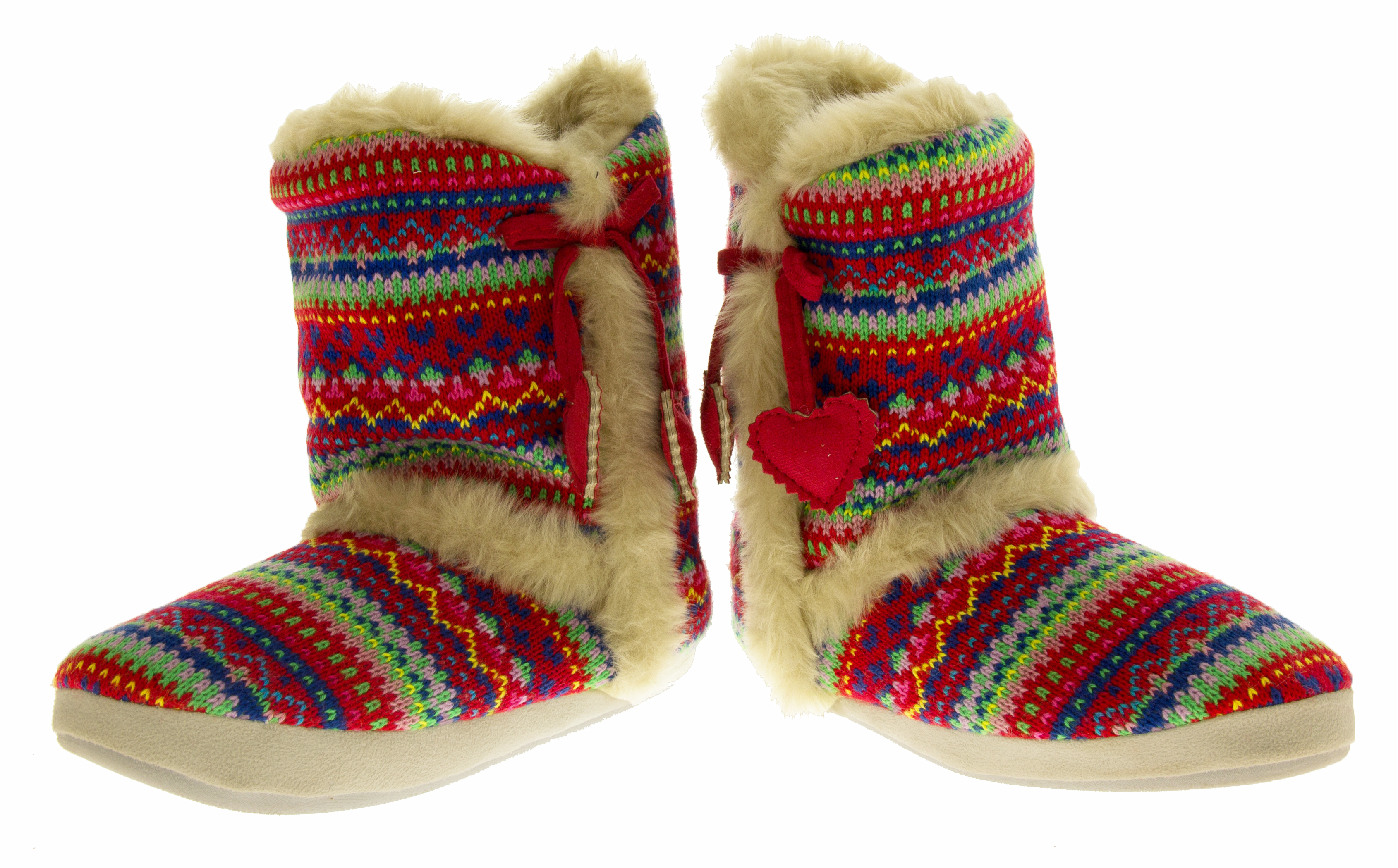 Knitted Boots Pattern : Ladies DUNLOP Boot Slippers Knitted Alpine Pattern Faux Fur Lined Slipper Boo...