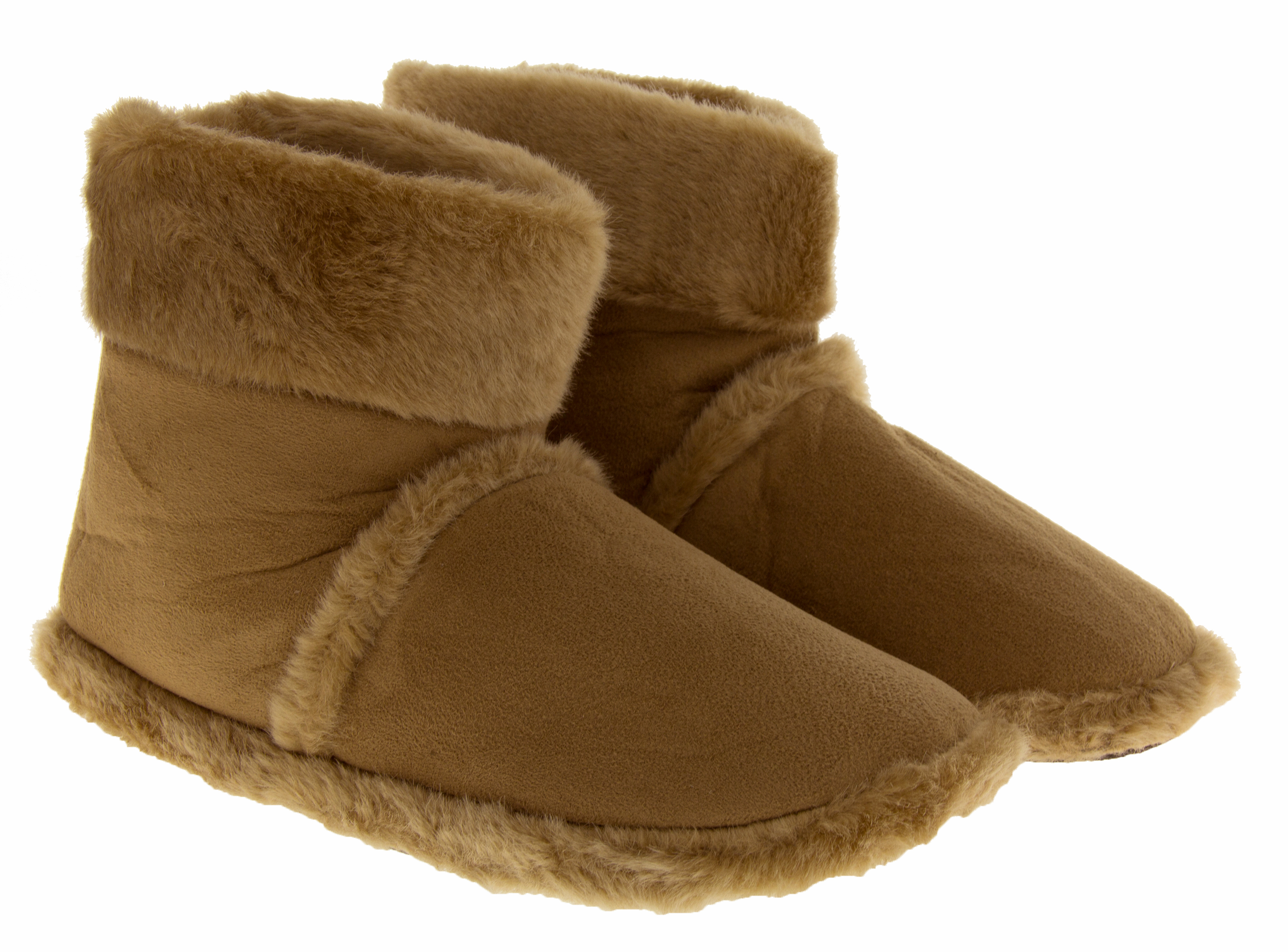 New Mens Slipper Boots Luxury Brown Sheepskin Effect Boot Slippers Size 7 8 9