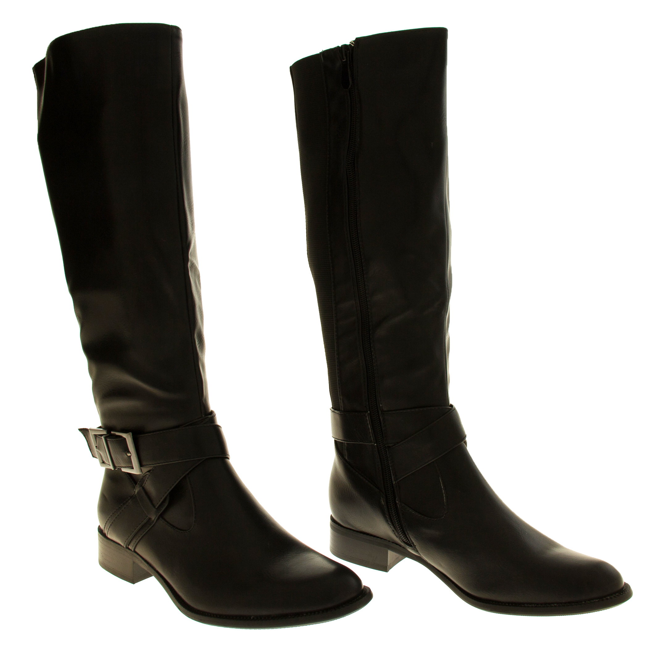 Womens Boots Low Heels Flat Knee High Work Boot Office