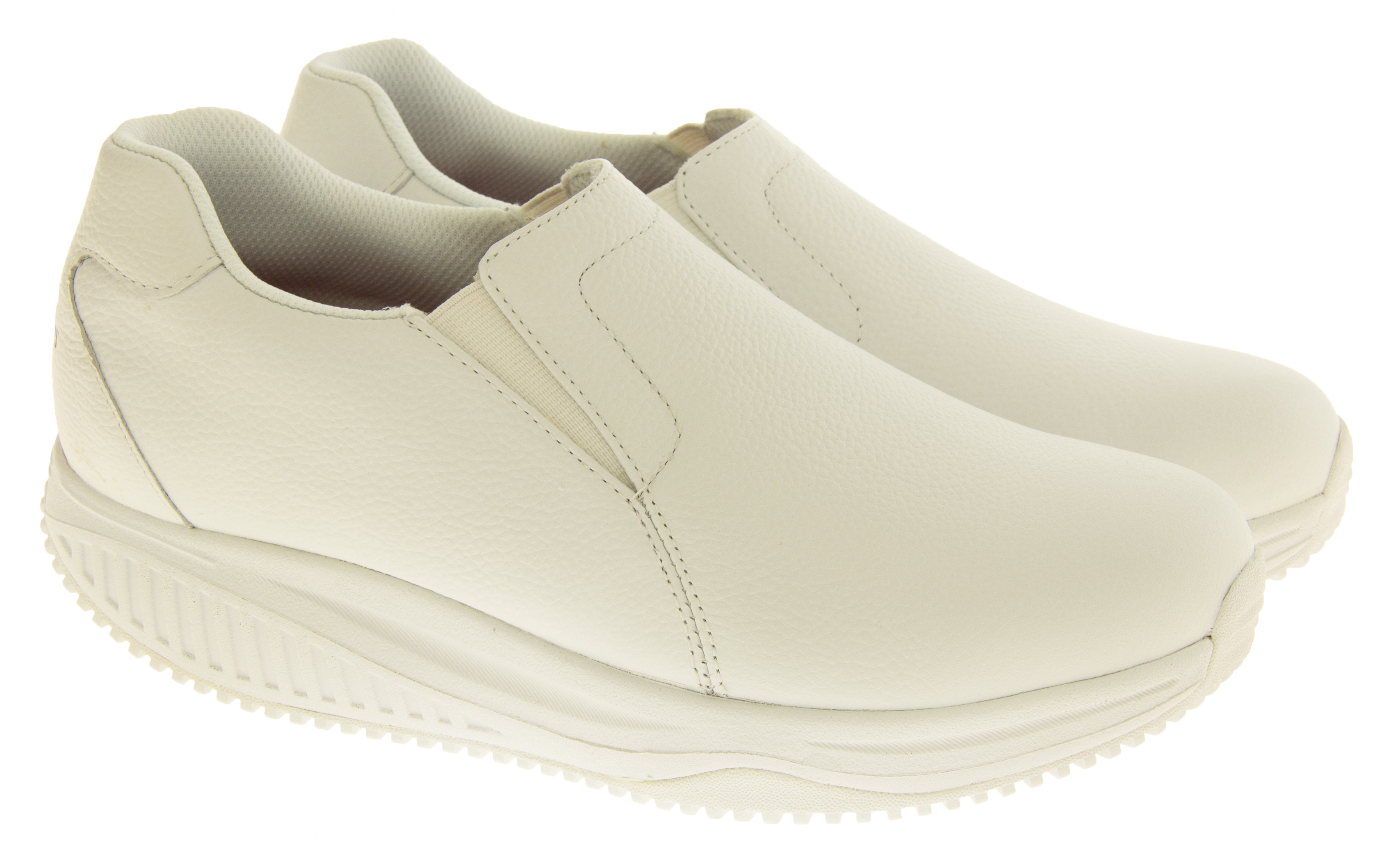 s skechers shape ups white leather slip resistant