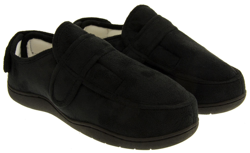 Mens Velcro Adjustable Memory Foam Slippers Womens Mens