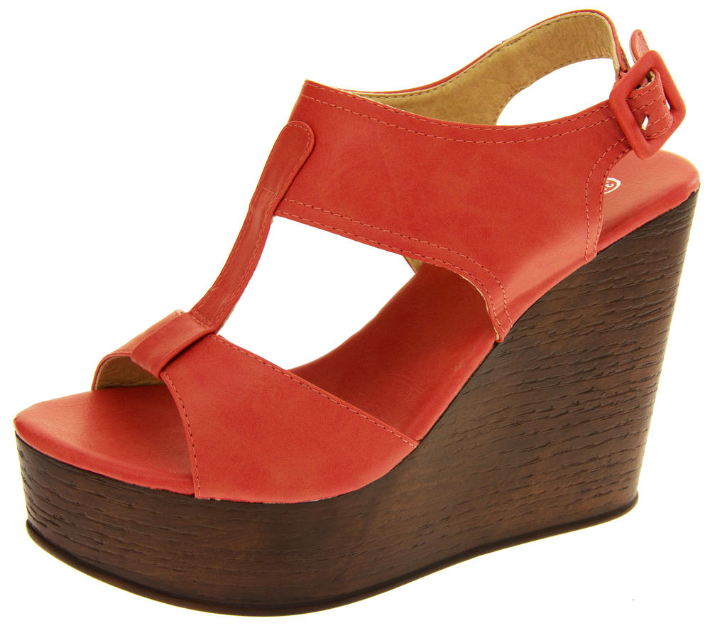 Womens BETSY T-Bar Platform Wedge Sandals